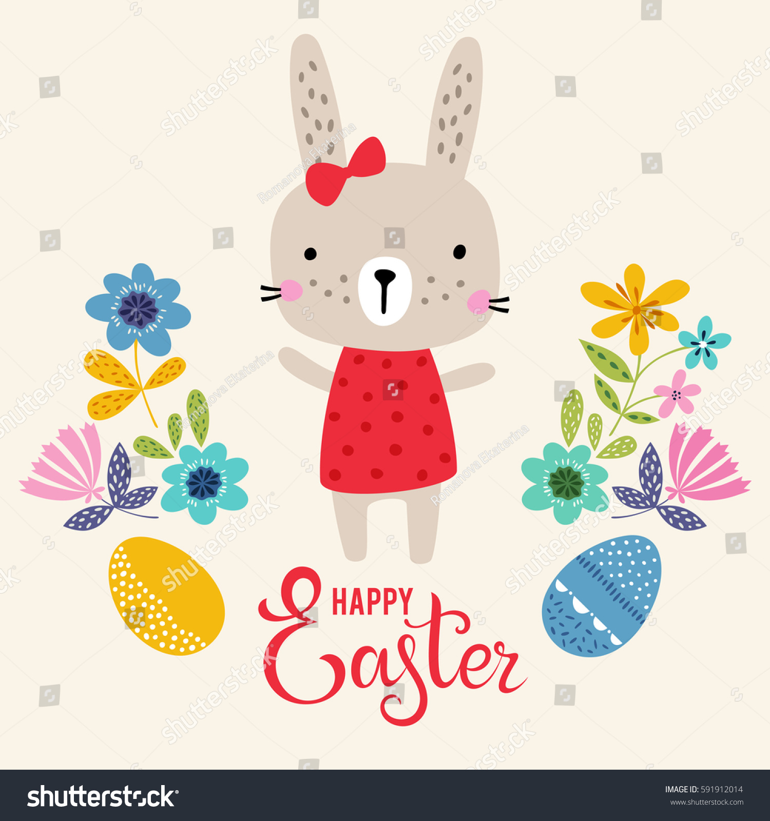Vector Happy Easter Card Template Eggs Vector 591912014 – Easter Card Template