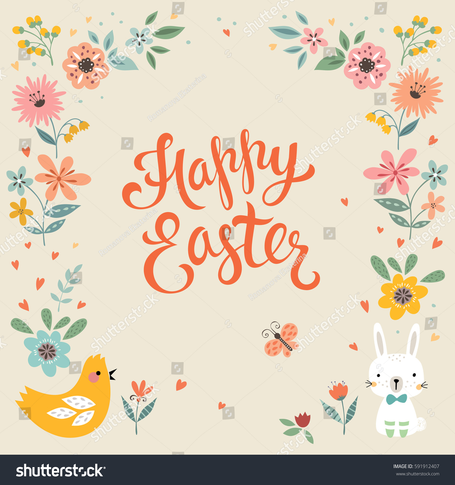 Square Happy Easter Card Template Eggs Vector 591912407 – Easter Card Template