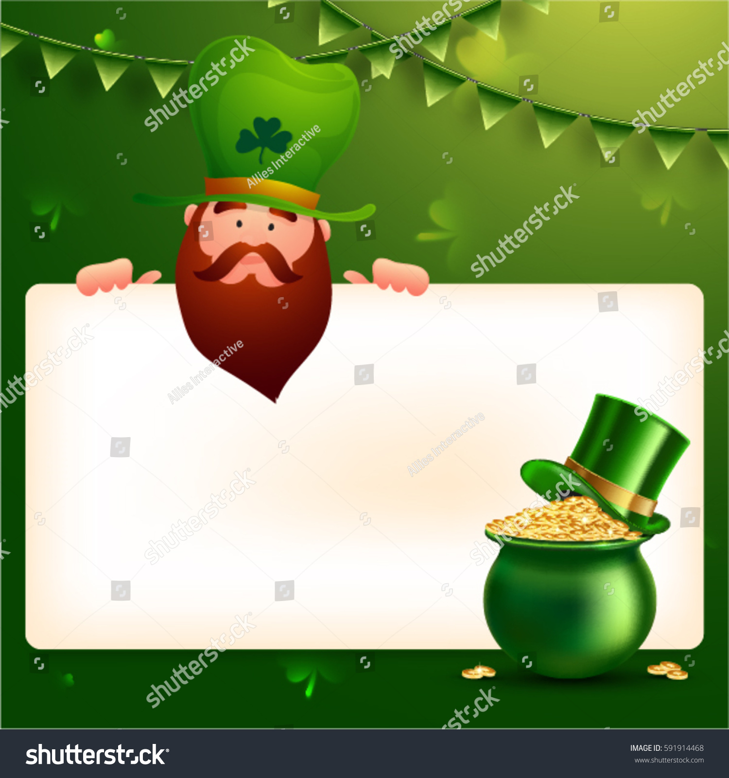 Uncategorized Leprechaun Background leprechaun holding blank sign board your stock vector 591914468 for wishes st patricks day celebration green background