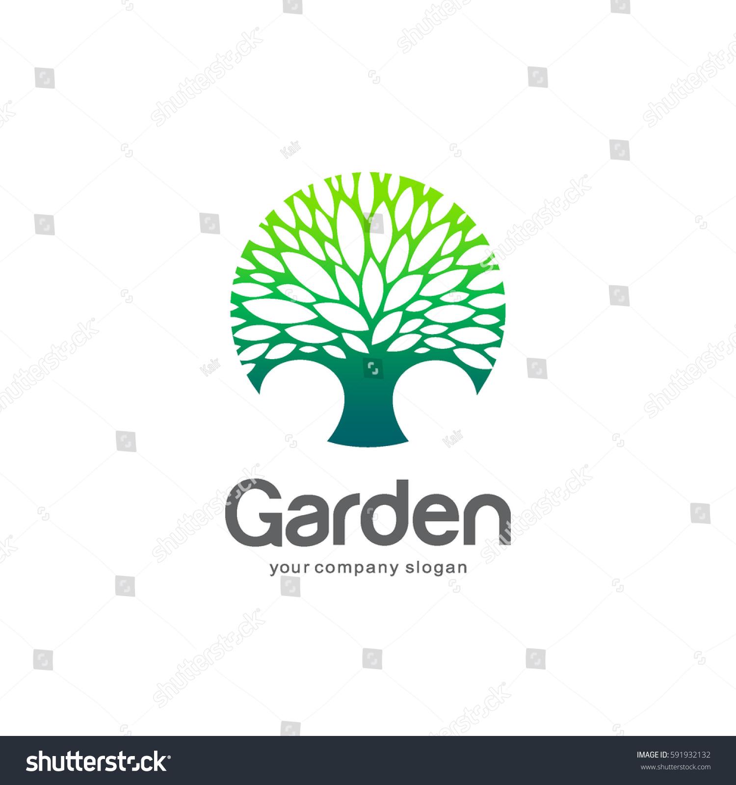 vector logo template green tree circle stock vector