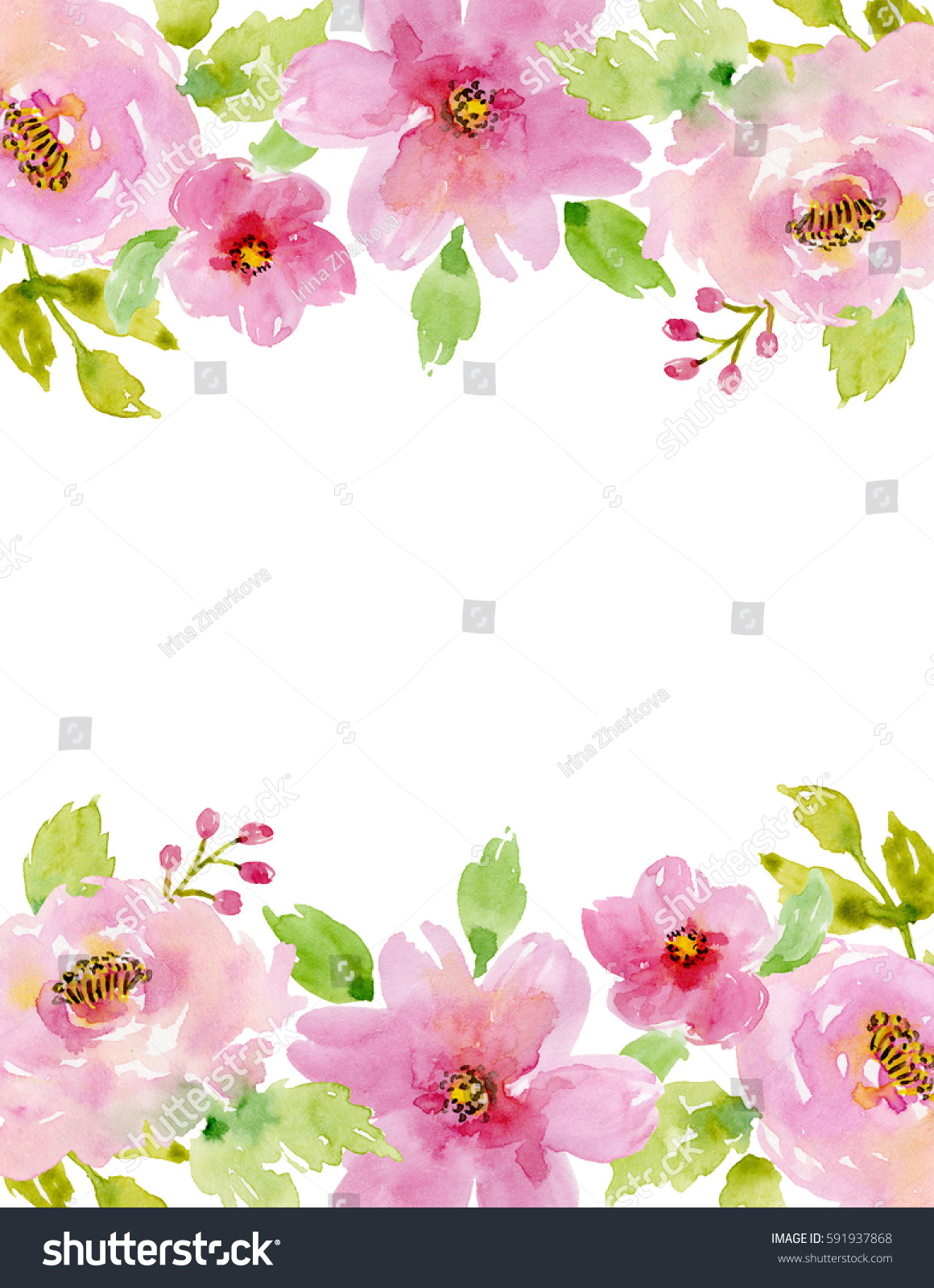 Painted watercolor composition flowers frame border stock painted watercolor composition of flowers frame border background greeting card valentines kristyandbryce Image collections
