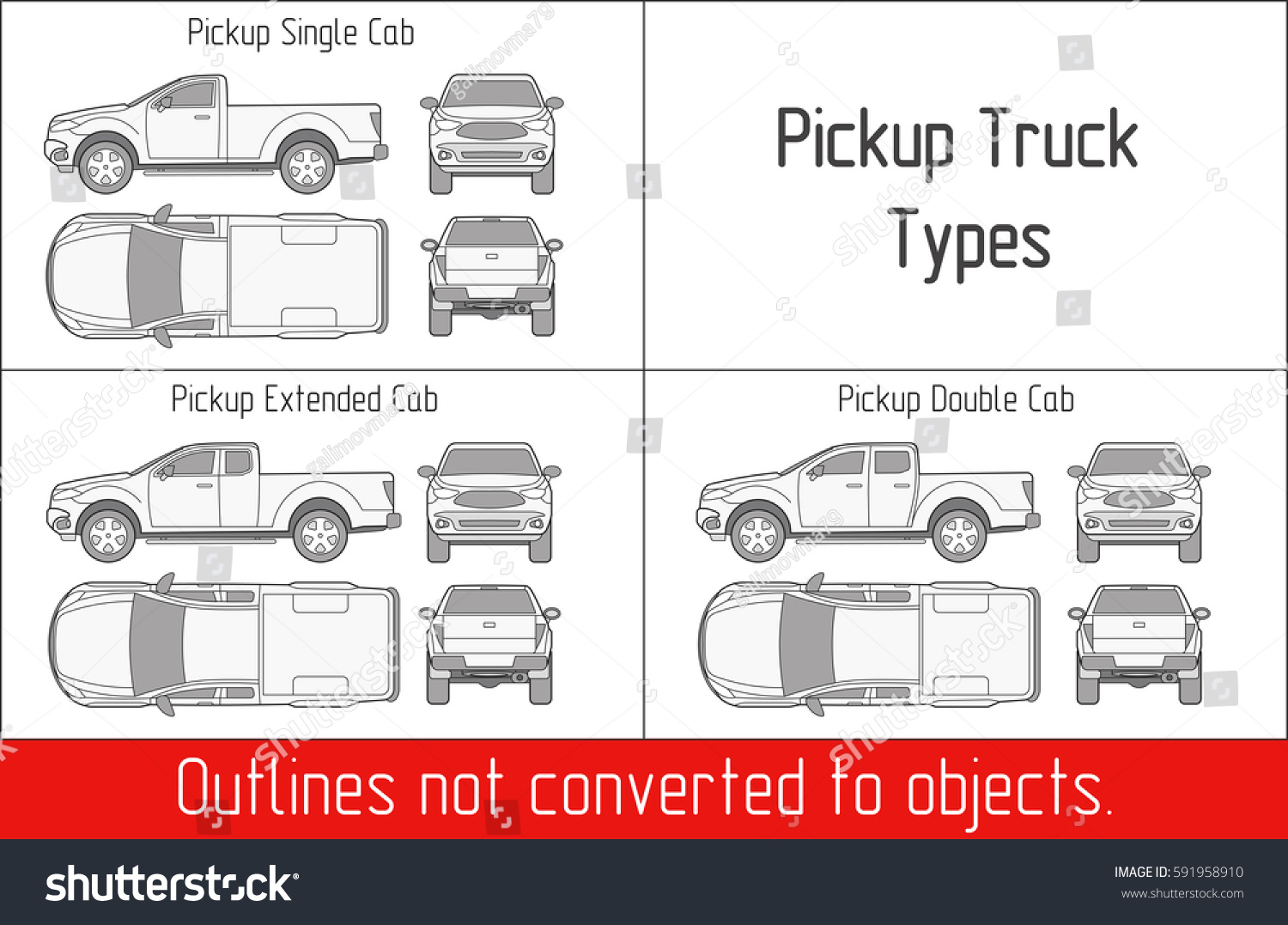 Truck pickup types template blueprint drawing vectores en stock truck pickup types template blueprint drawing outline strokes not expanded malvernweather Images