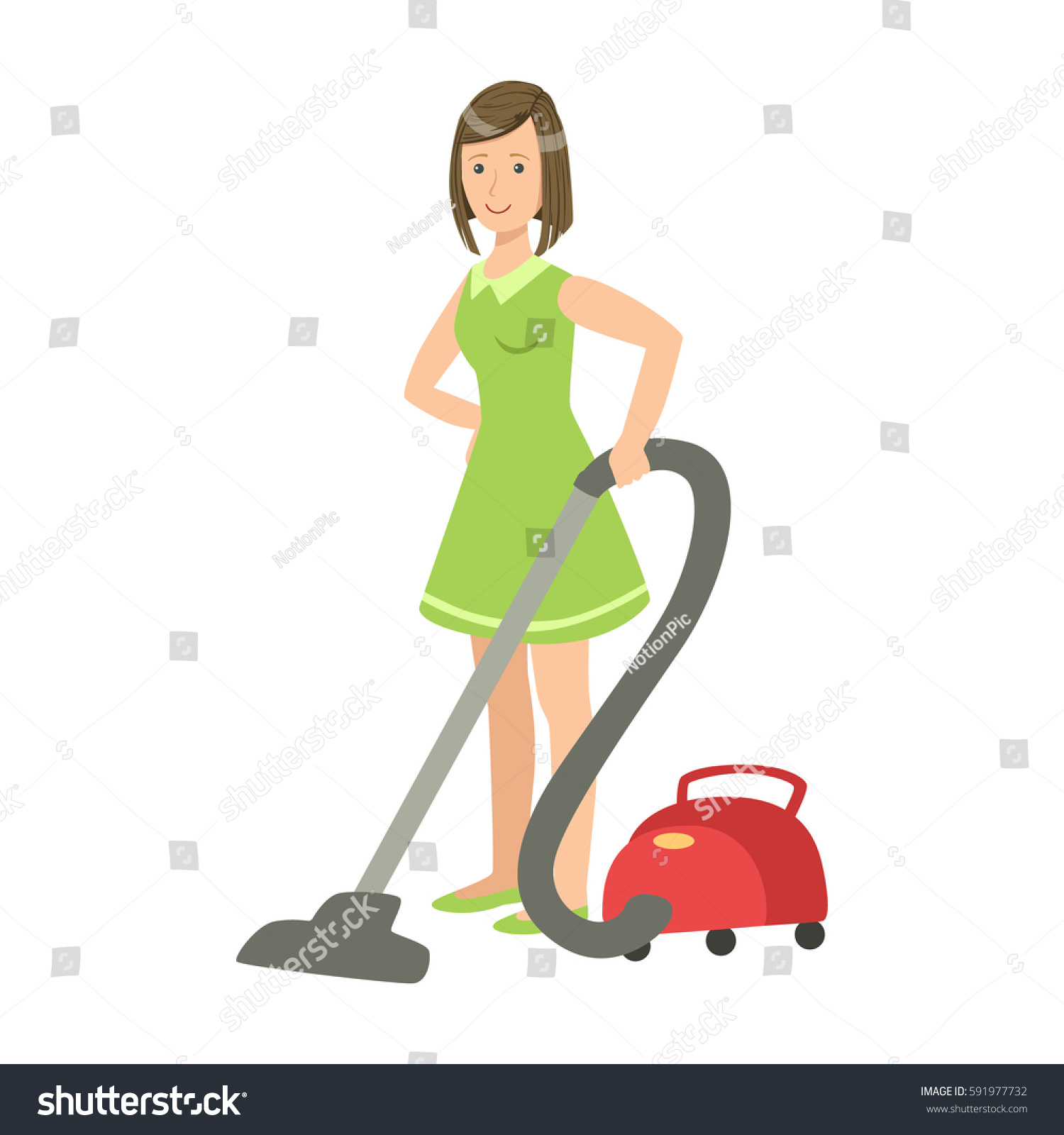 Chubby woman vacuum cleaner