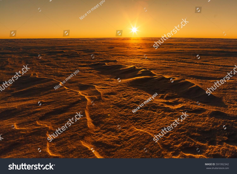 Martian Sunset Mars Planet Red Landscape Stock Photo - Sunrise looks like mars