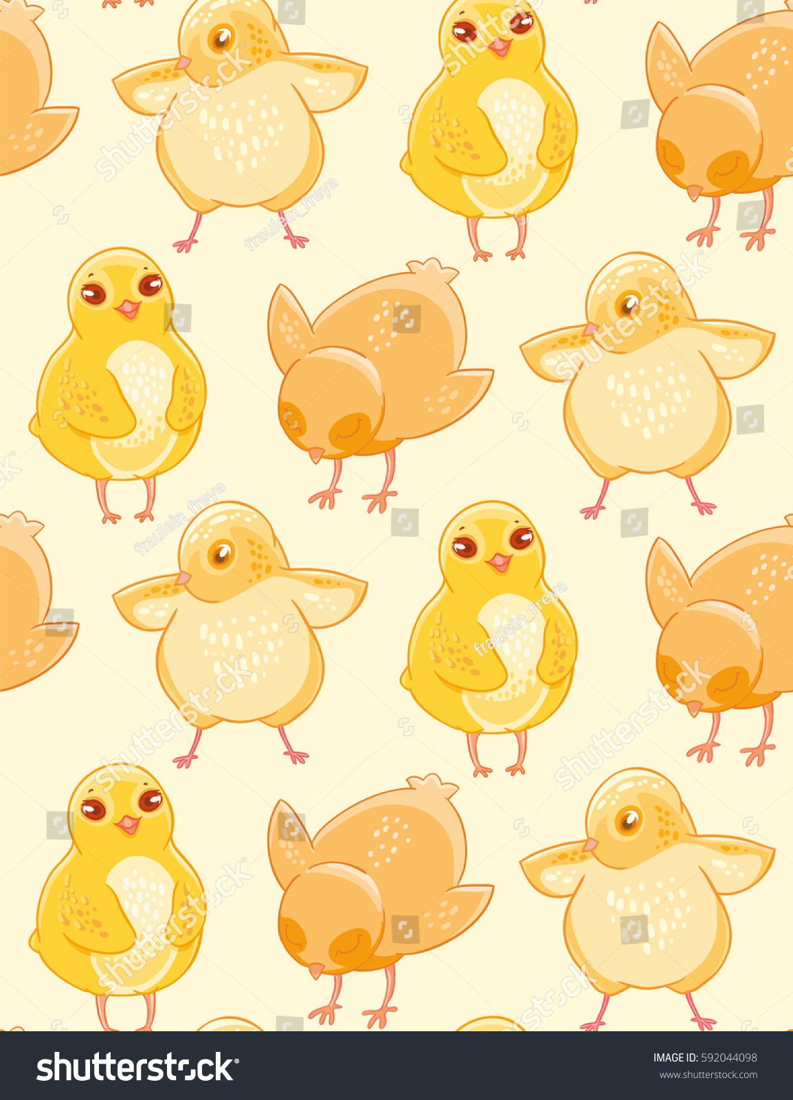 Seamless Pattern Cute Handdrawn Chicken On 592044098