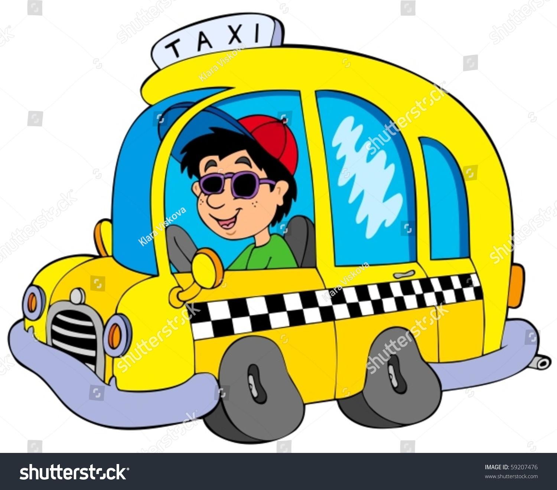 Stock Vector Cartoon Taxi Driver Vector Illustration