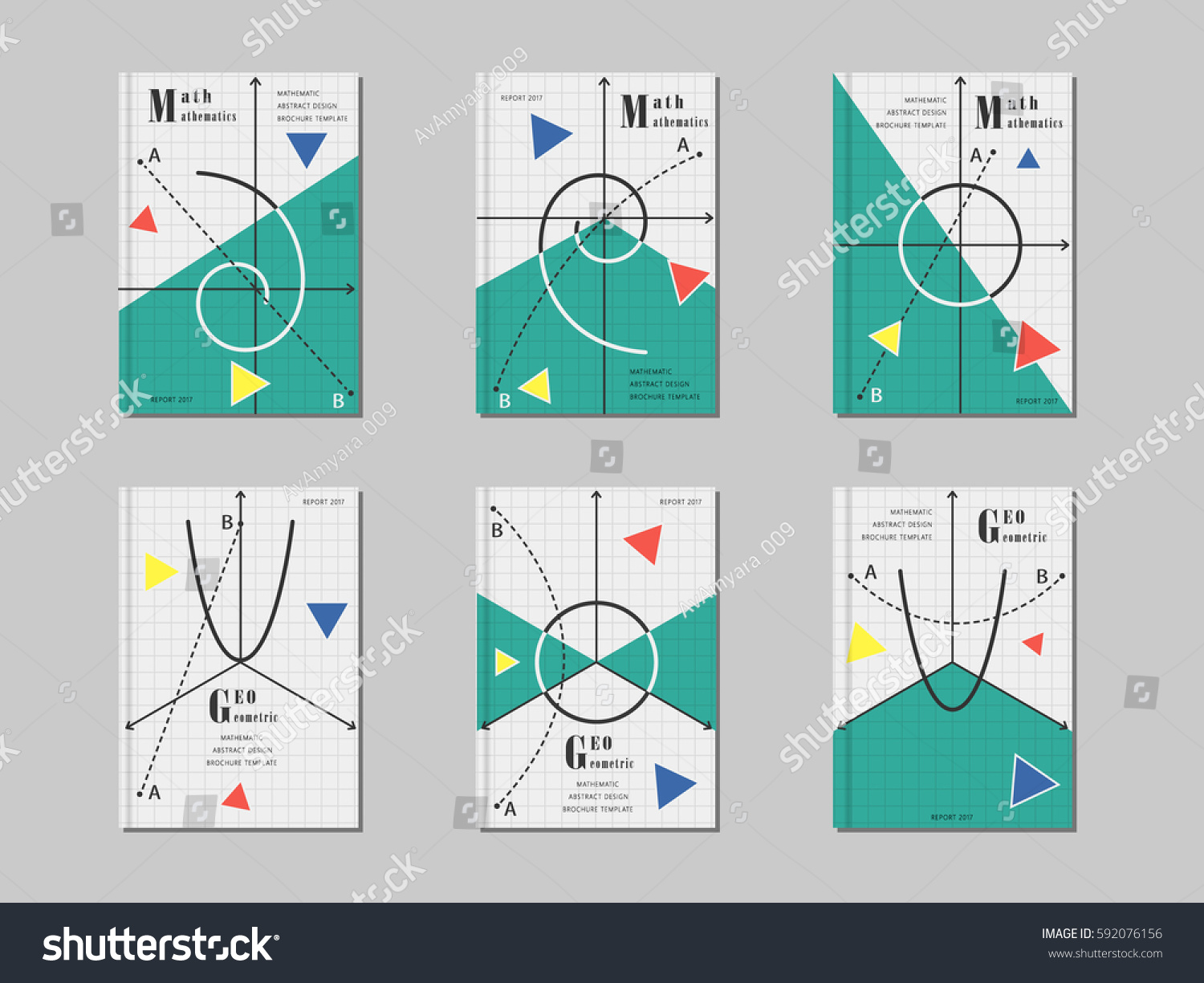 Maths Book Cover Template : Mathematics cover design abstract geometric shapes stock