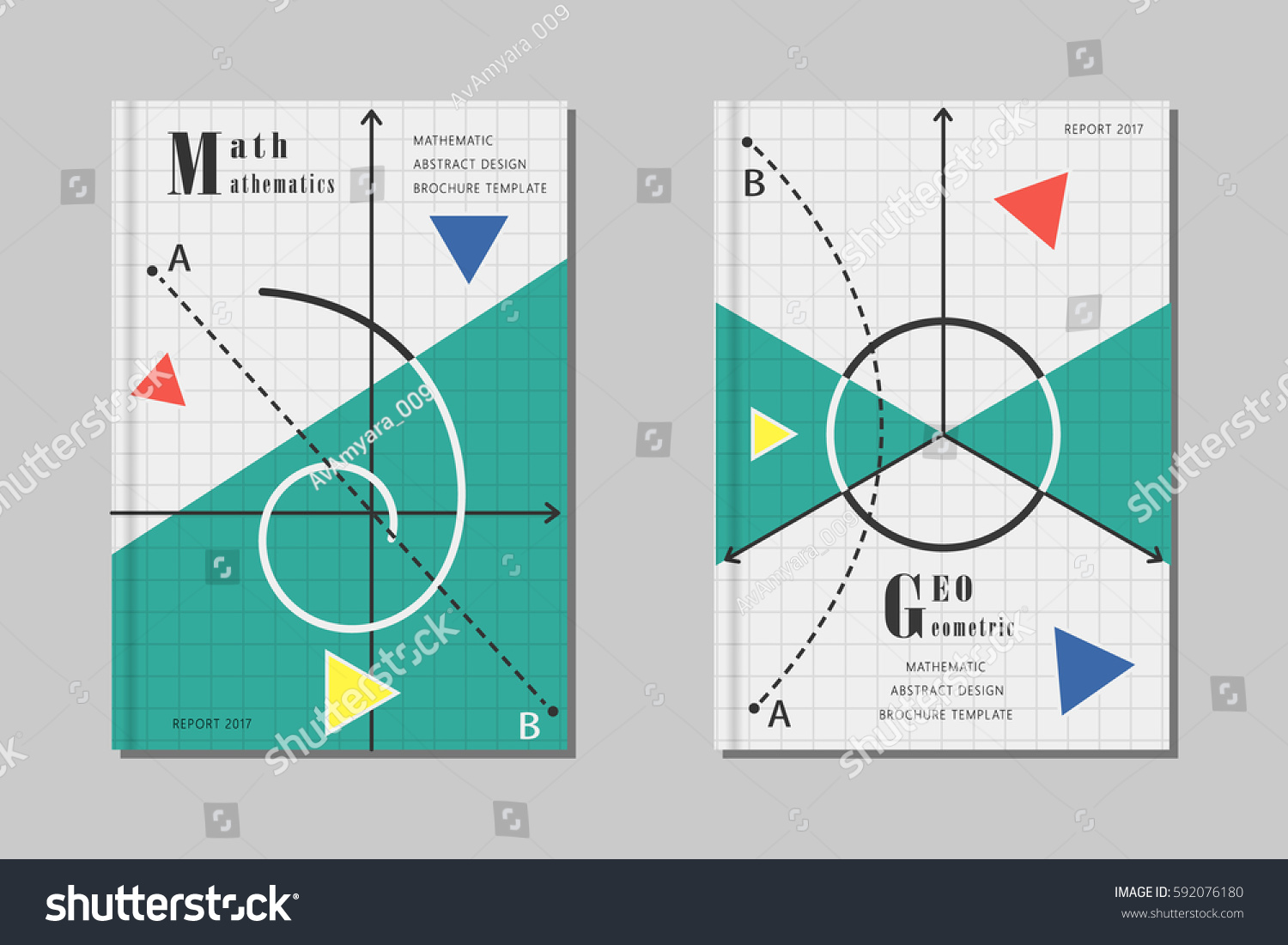 mathematics design abstract geometric shapes and signs creative template for brochure covers posters