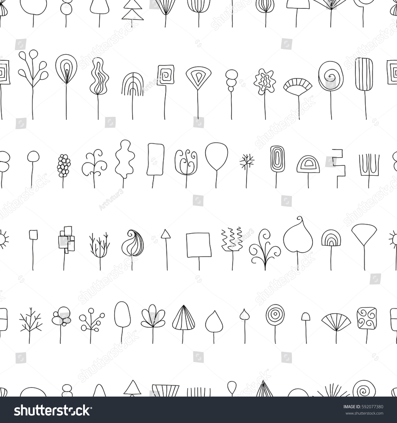 Abstract Trees Hand Drawn Seamless Pattern Stock Vector 592077380 - Shutterstock