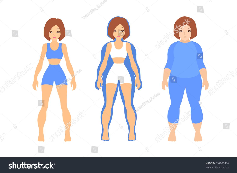 Thin Woman Inside Fat Women Silhouette Stock Photo 592092476