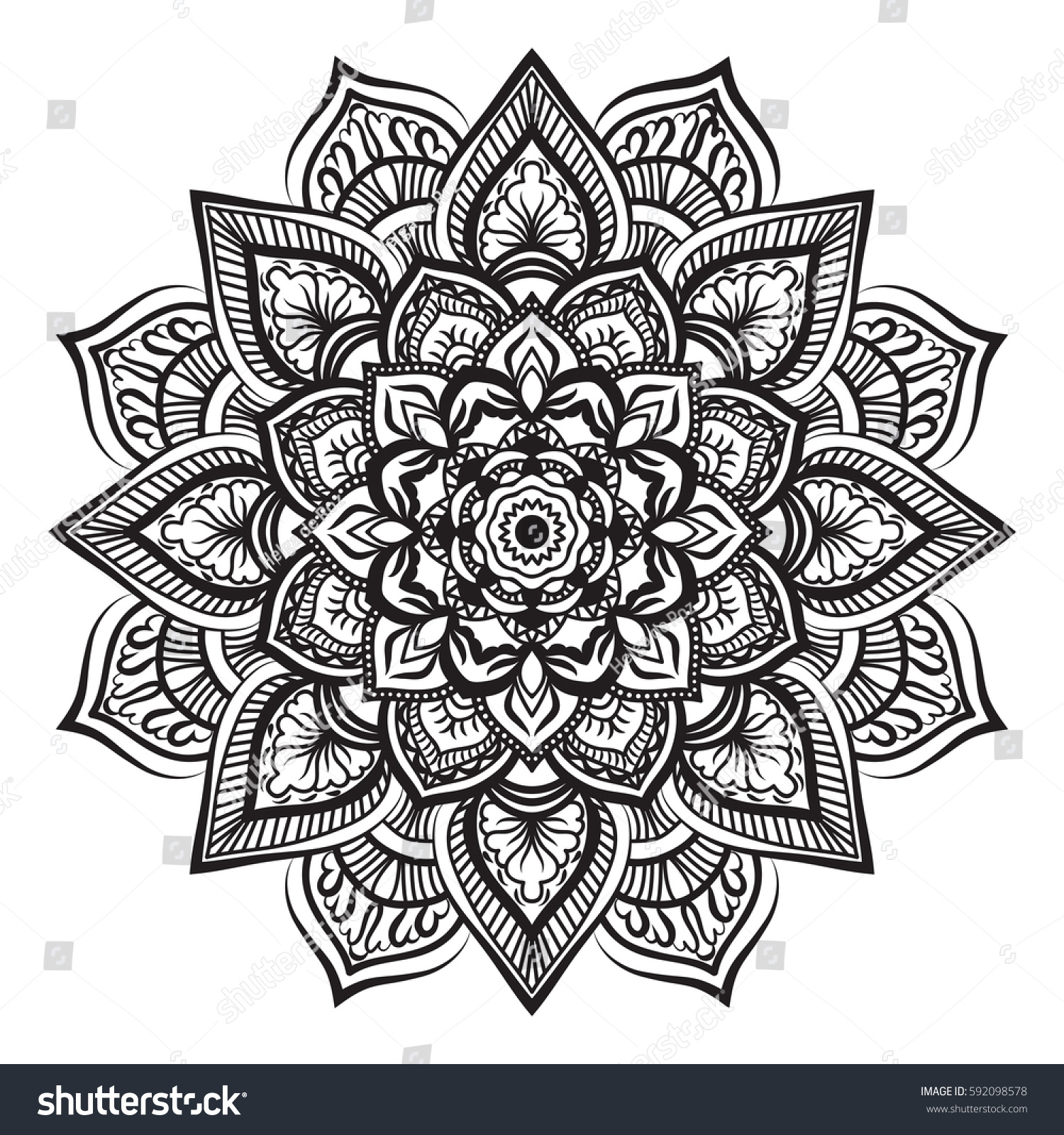Line Drawing Mandala : Mandala line art antistress coloring book stock vector