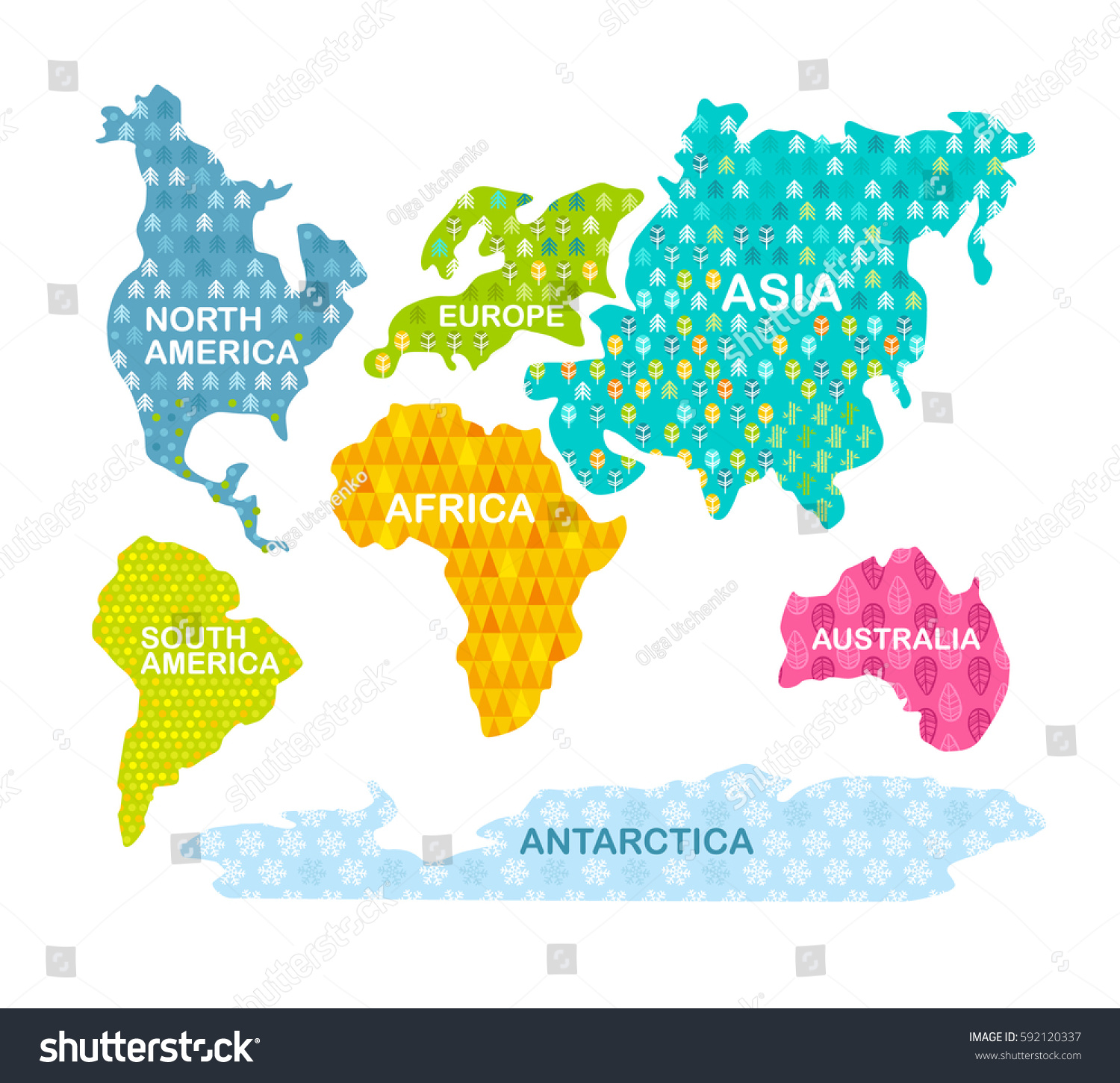 Colorful world map continents patterns africa vectores en stock colorful world map continents with patterns africa america asia europe gumiabroncs Gallery