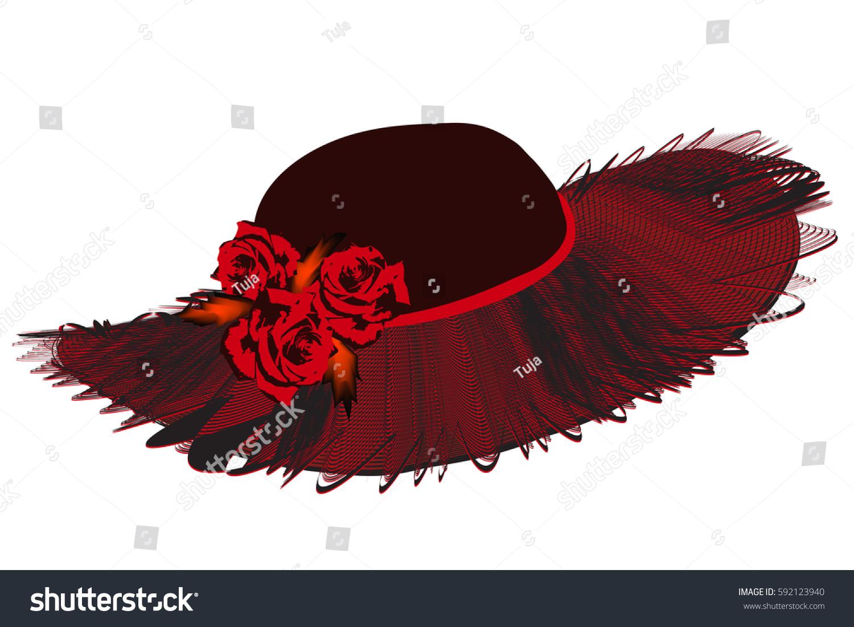 Elegant Women Hat Netting Wavy Brim Stock Vector 592123940 ...