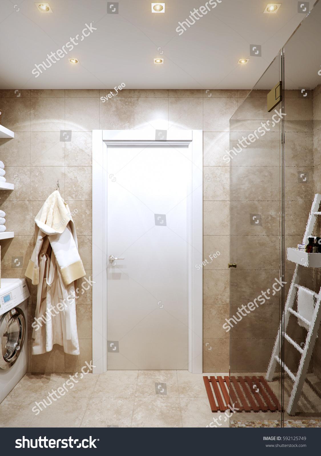 Modern Bathroom Interior Stone Travertine Tiles Stock Illustration ...