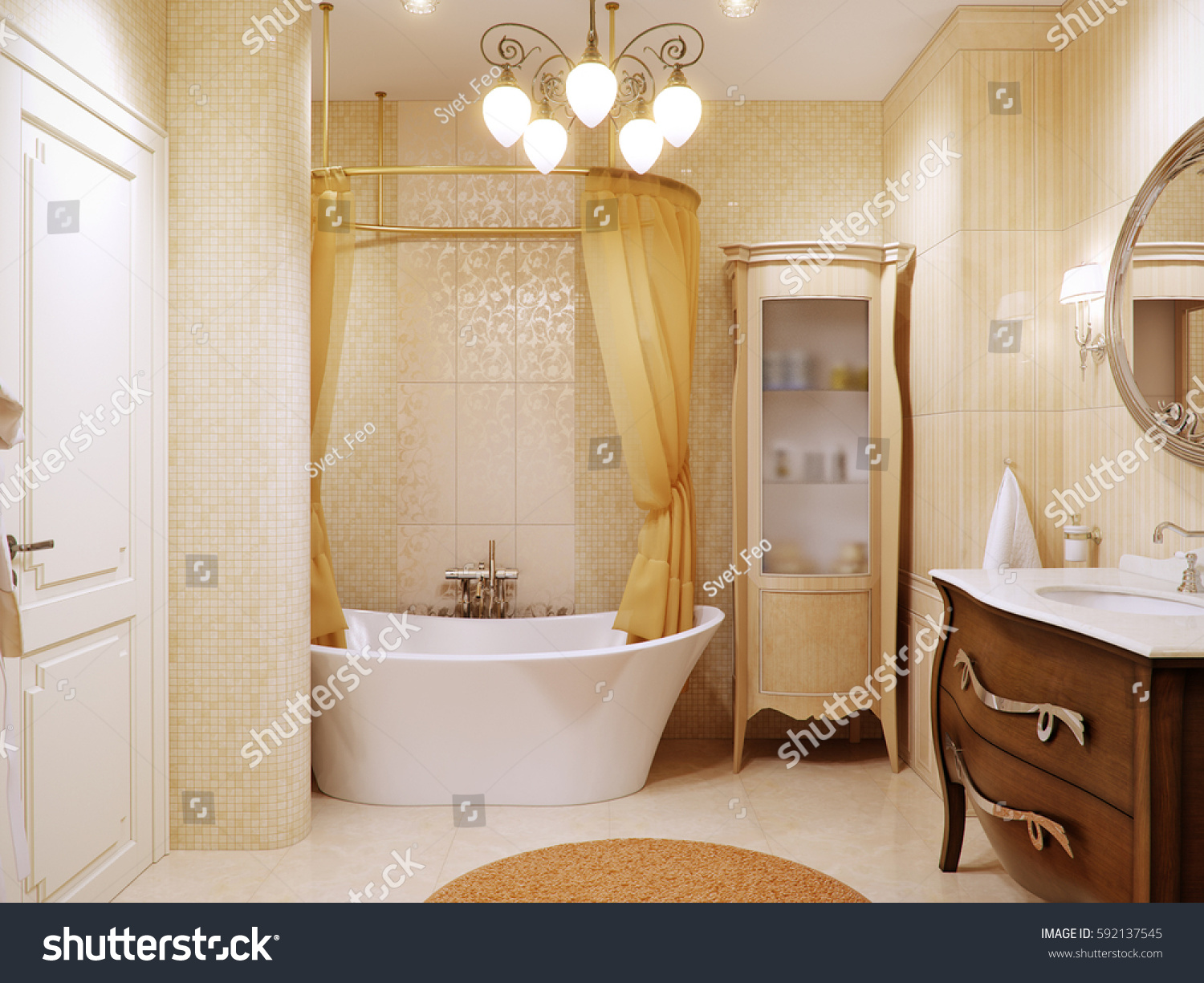 Interior Design In Classic Style With Beige Tiles D Render 592137545