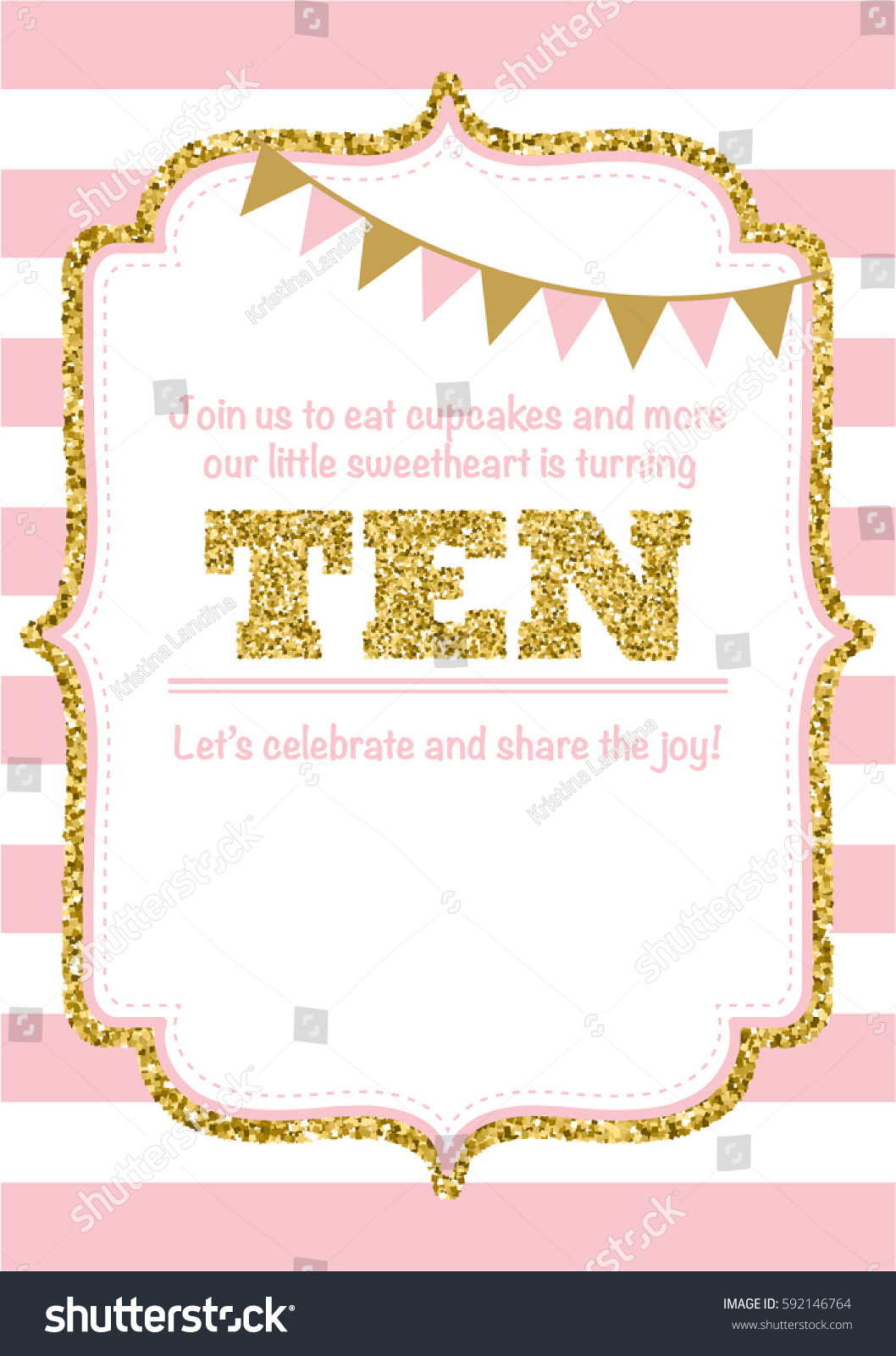 Birthday Card Invitation Turning Ten Pink Stock Vector (Royalty Free ...