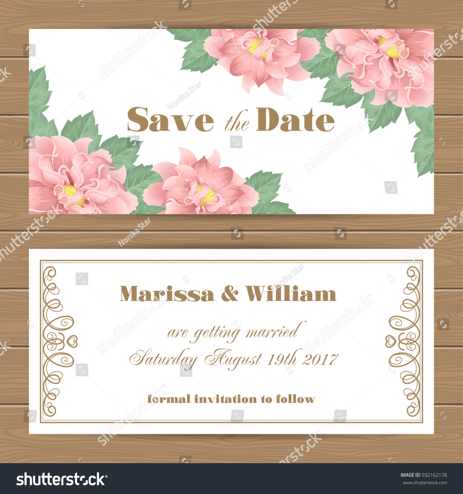 save date card wedding invitation template stock vector 592162178 shutterstock. Black Bedroom Furniture Sets. Home Design Ideas