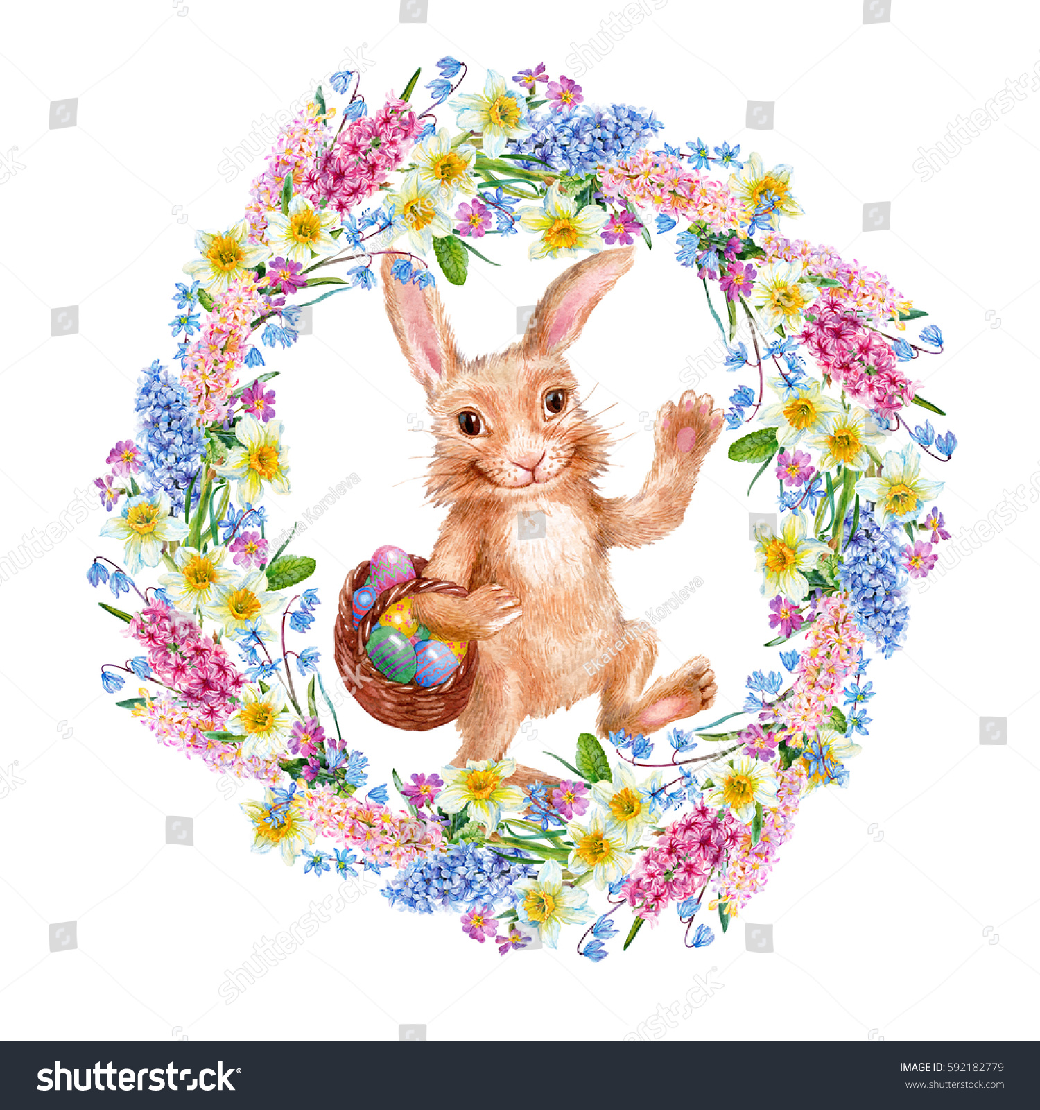 Rabbit Carrying A Basket Of Eggs Easter Wreath Of Spring Flowers