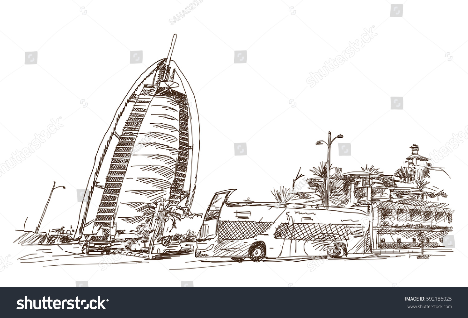 Sketch burj al arab bus dubai stock vector 592186025 for Burj khalifa sketch