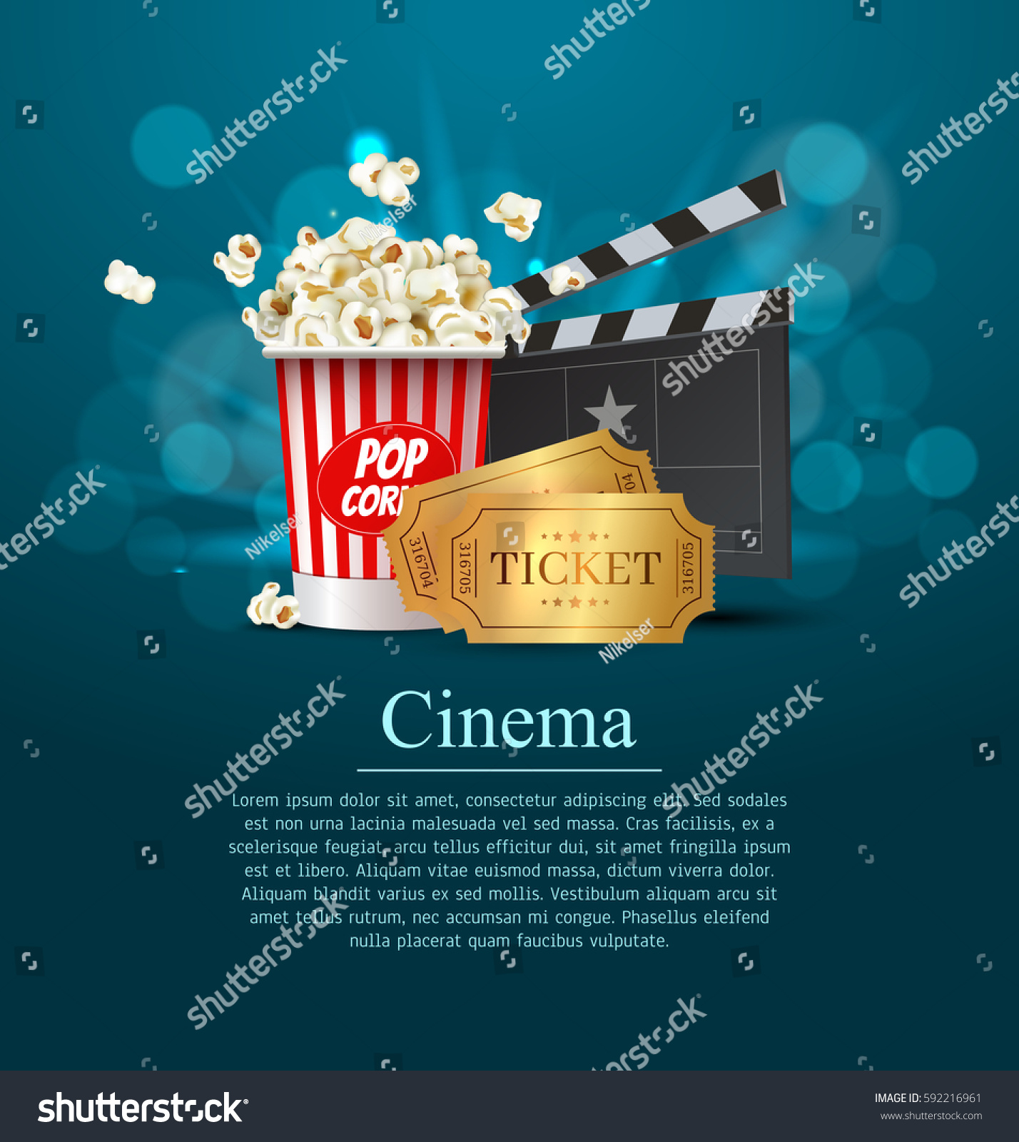 Cyan cinema movie design poster design stock vector for Film premiere invitation template