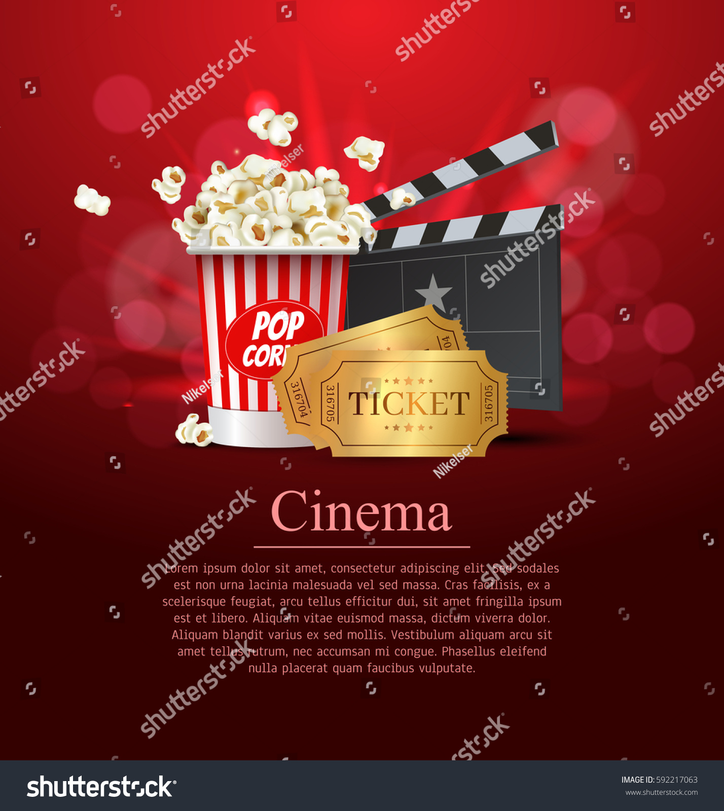 Poster design vector - Red Cinema Movie Design Poster Design Vector Template Banner For Movie Premiere Or Show With