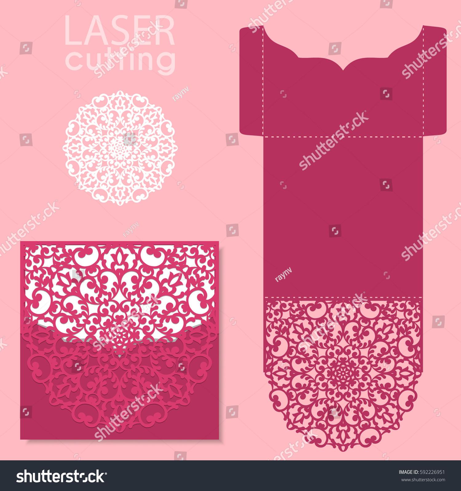 Vector Die Laser Cut Envelope Template Vector 592226951 – Wedding Card Envelope Template