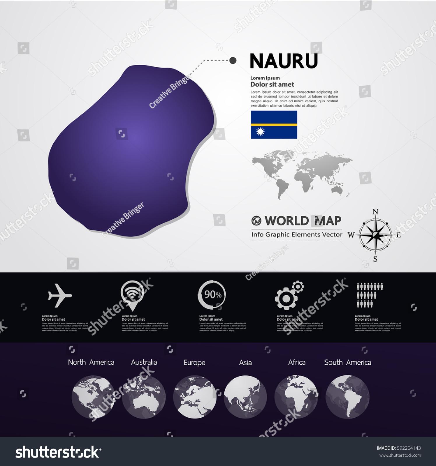 Nauru Map Vector Illustration Stock Vector Shutterstock - Nauru map vector