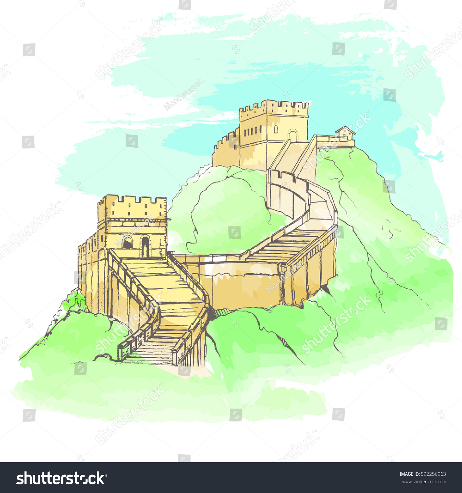 Great Wall China Sketch Style Vector Illustration Watercolor Stock ...
