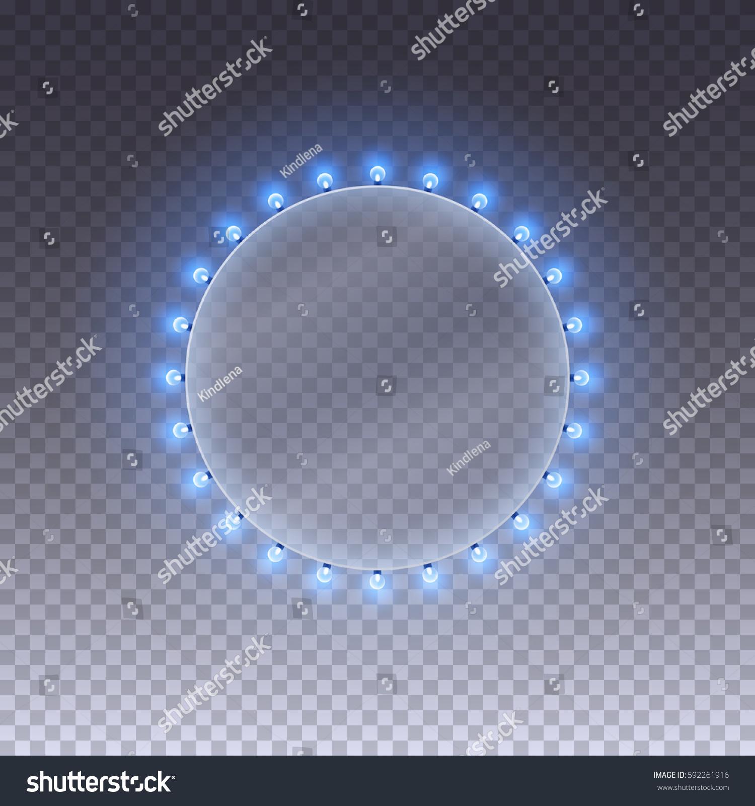 Illuminated Round Realistic Casino Banner Blue Stock Vector