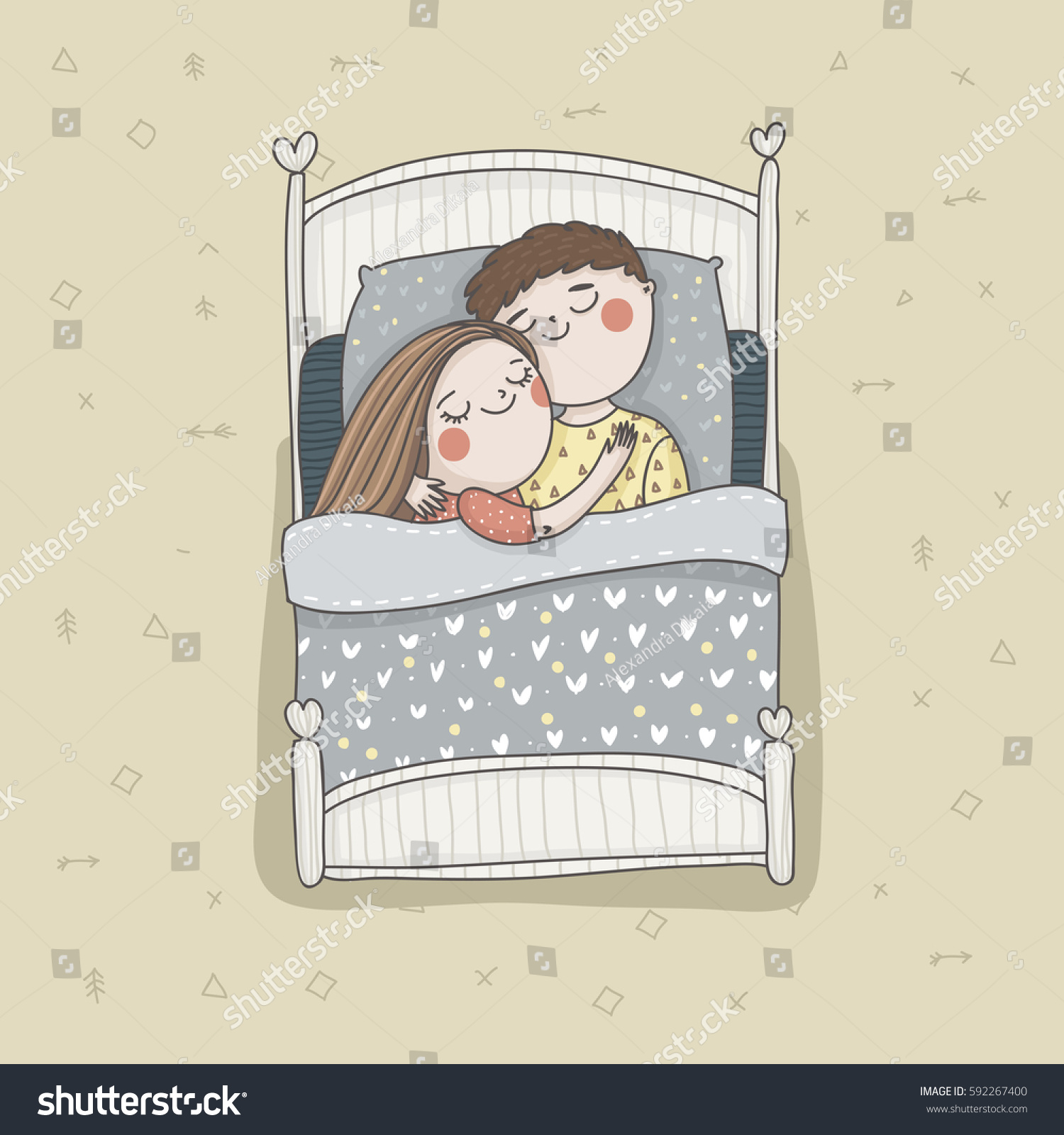 Sleeping couple bed with cute linen happy parents in love