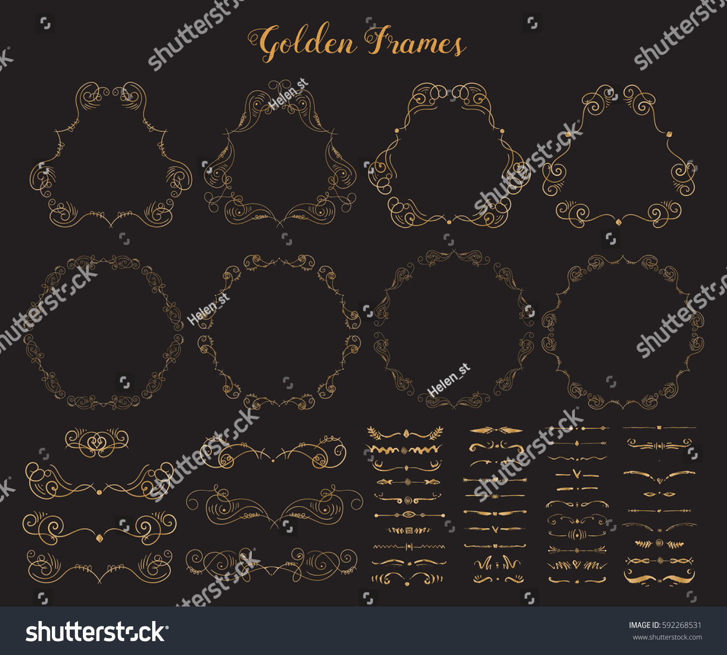 67c64d20882f Big collection of Golden emblem frames and dividers. Ornamental decorative  elements. Gold flourishes.