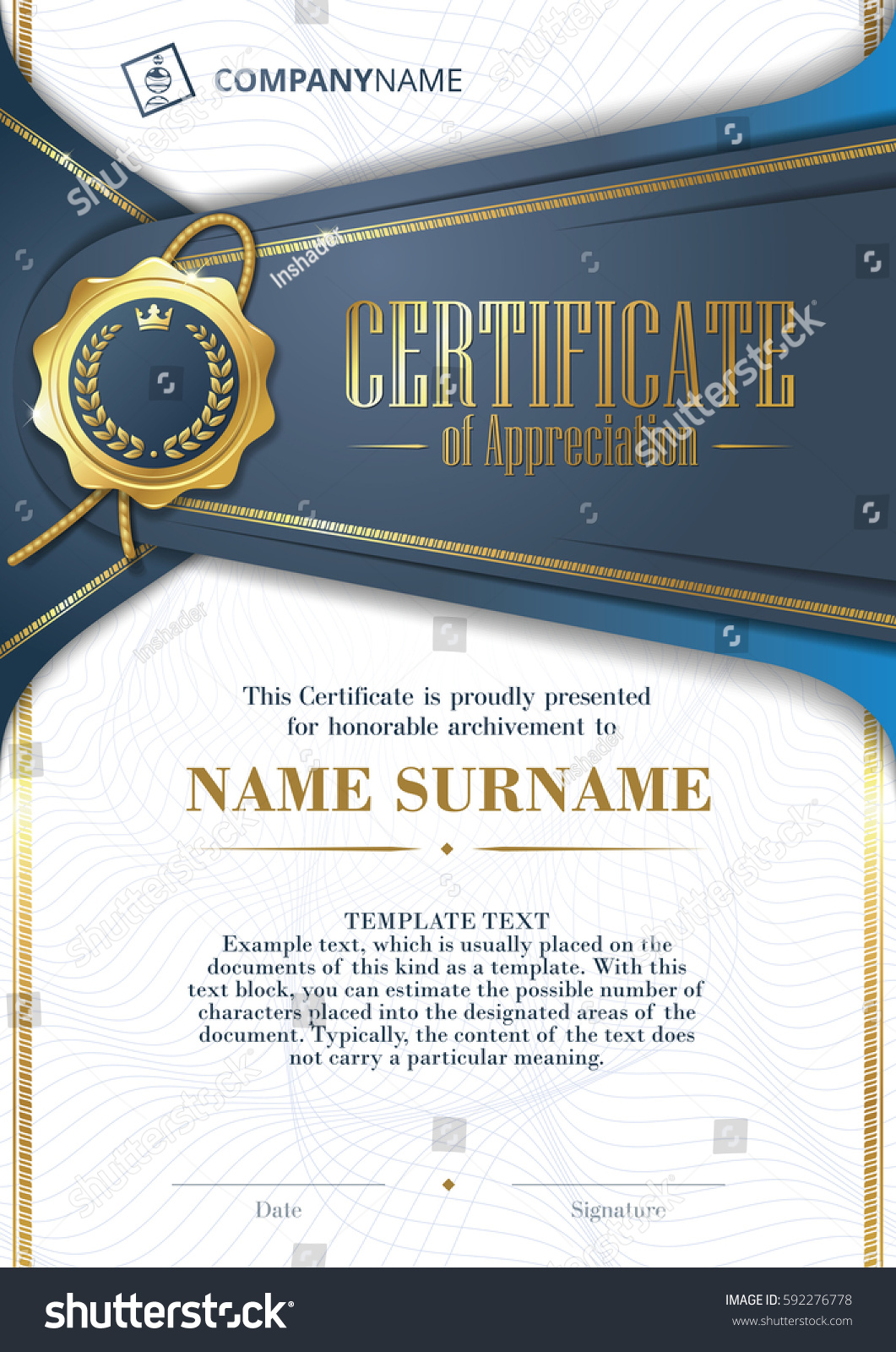 Template Certificate Appreciation Golden Badge Patterned Stock ...