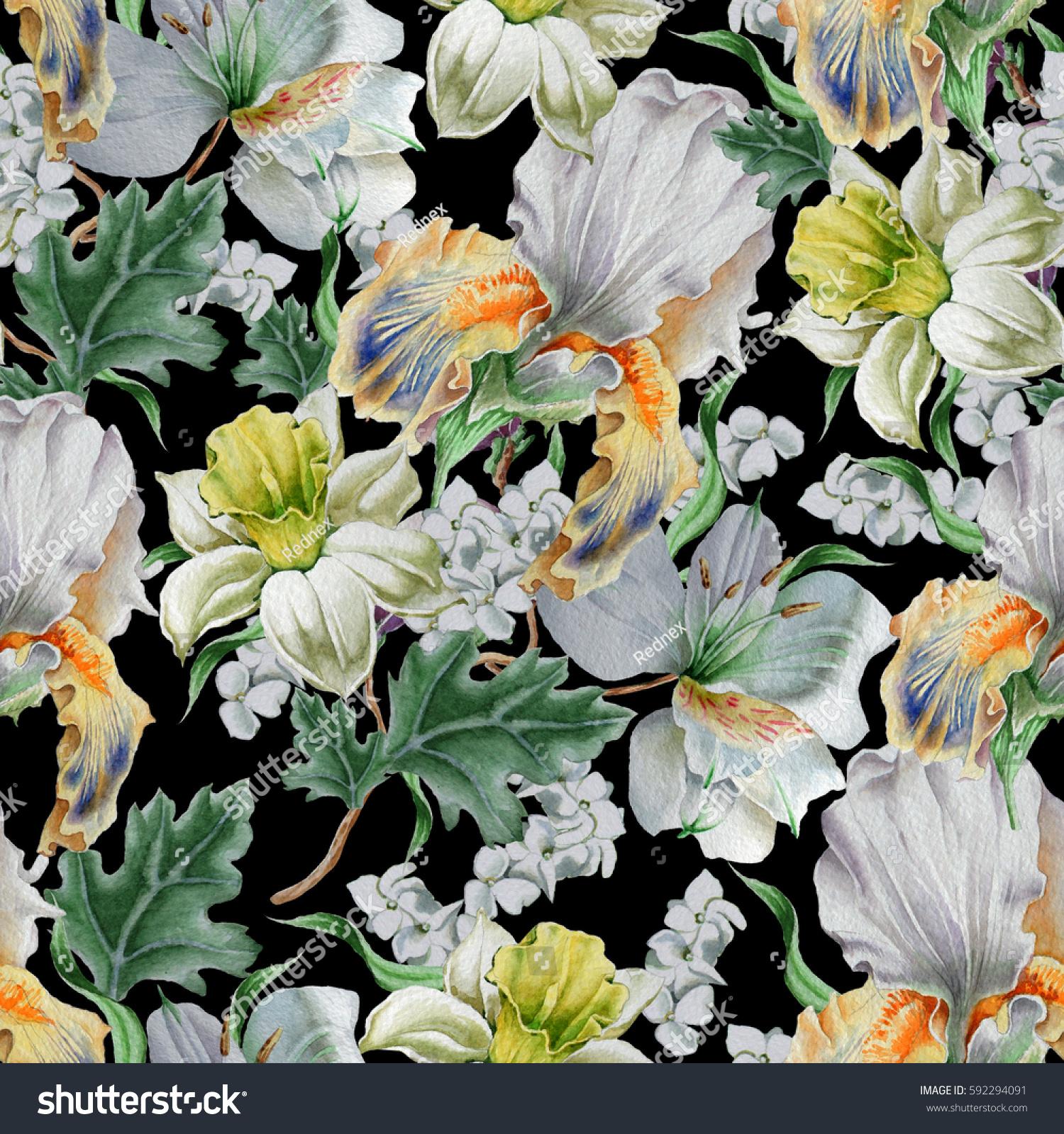 Seamless Pattern Flowers Narcissus Iris Lily Stock Illustration