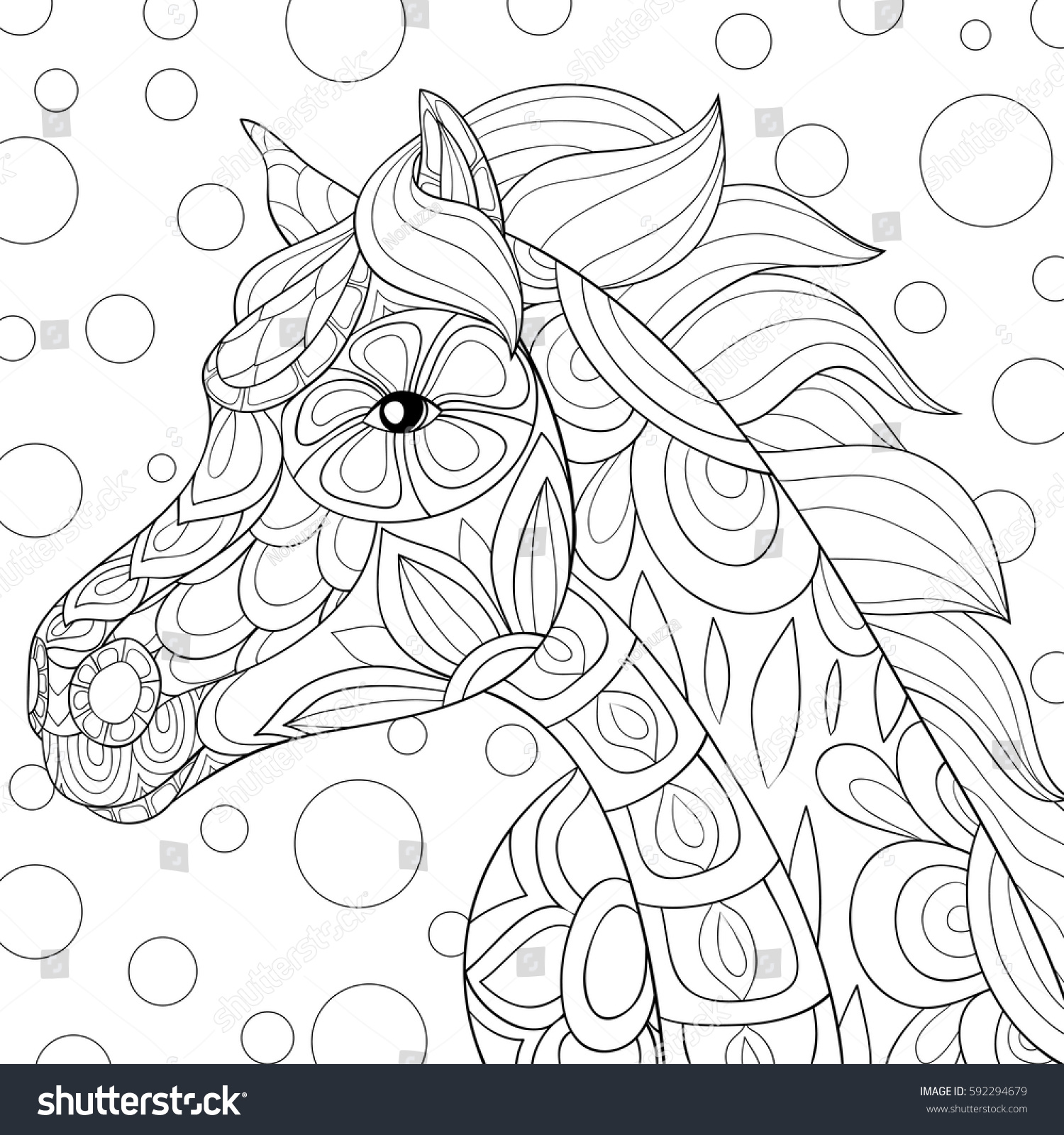 Coloring book horses - Adult Coloring Book Horse Zen Art Style Doodle