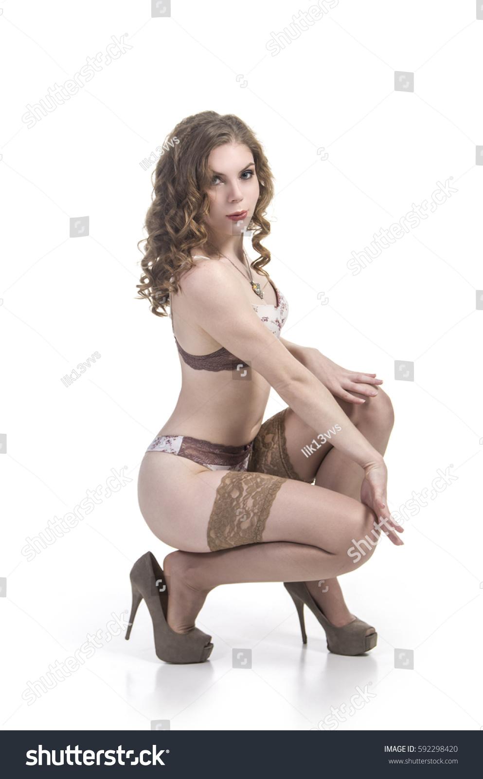 Sexy Girl Underwear Stockings Smiling Posing Stock Photo