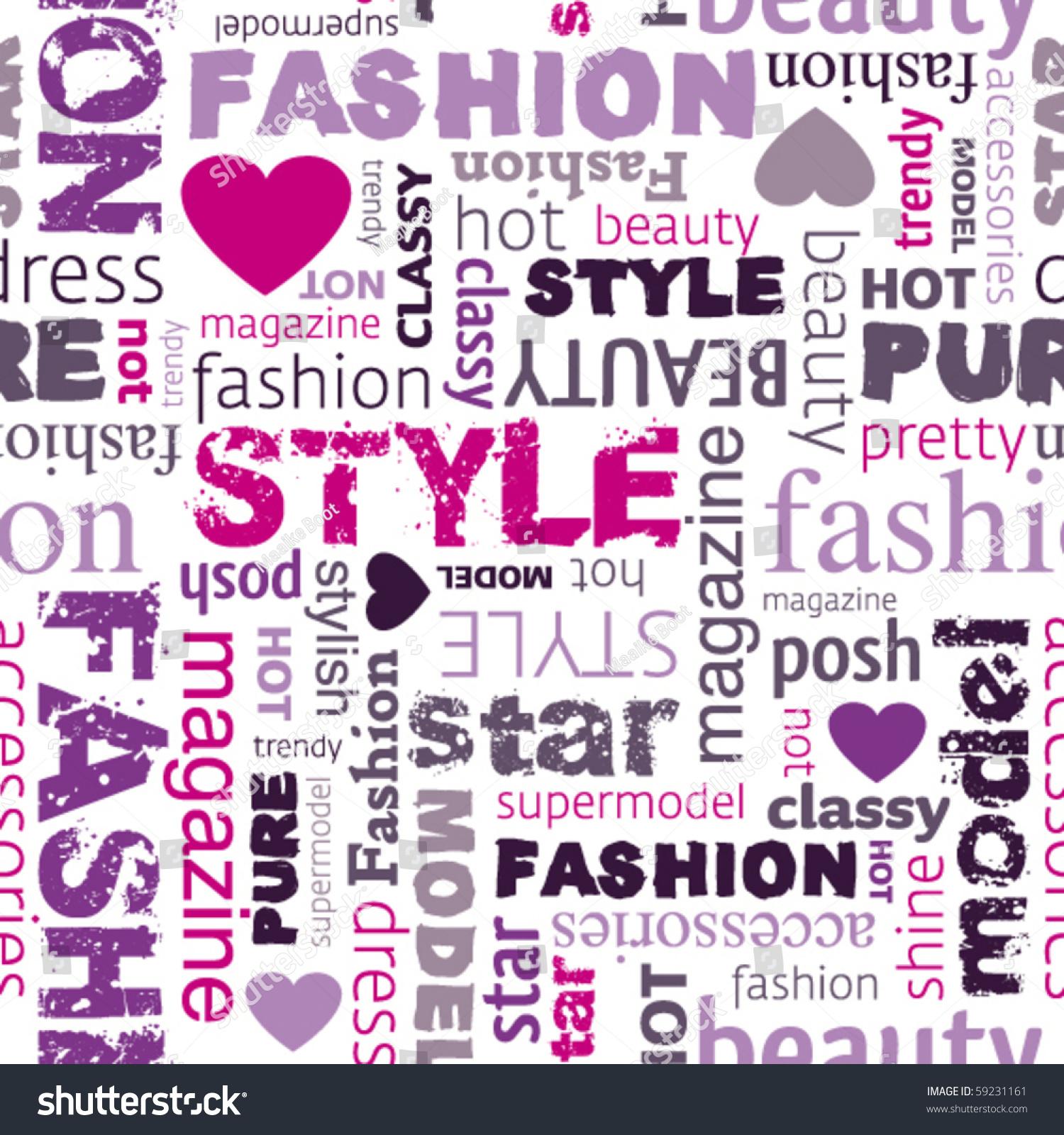 Love My Fashion Style Seamless Pattern Stock Vector 59231161 Shutterstock