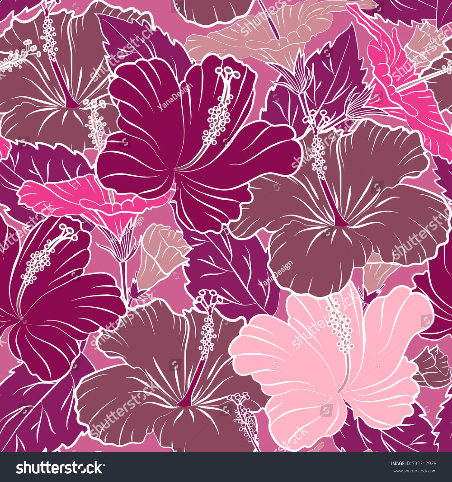 Elegant template fashion prints cute pattern stock illustration the elegant the template for fashion prints cute pattern in pink and purple hibiscus flowers izmirmasajfo
