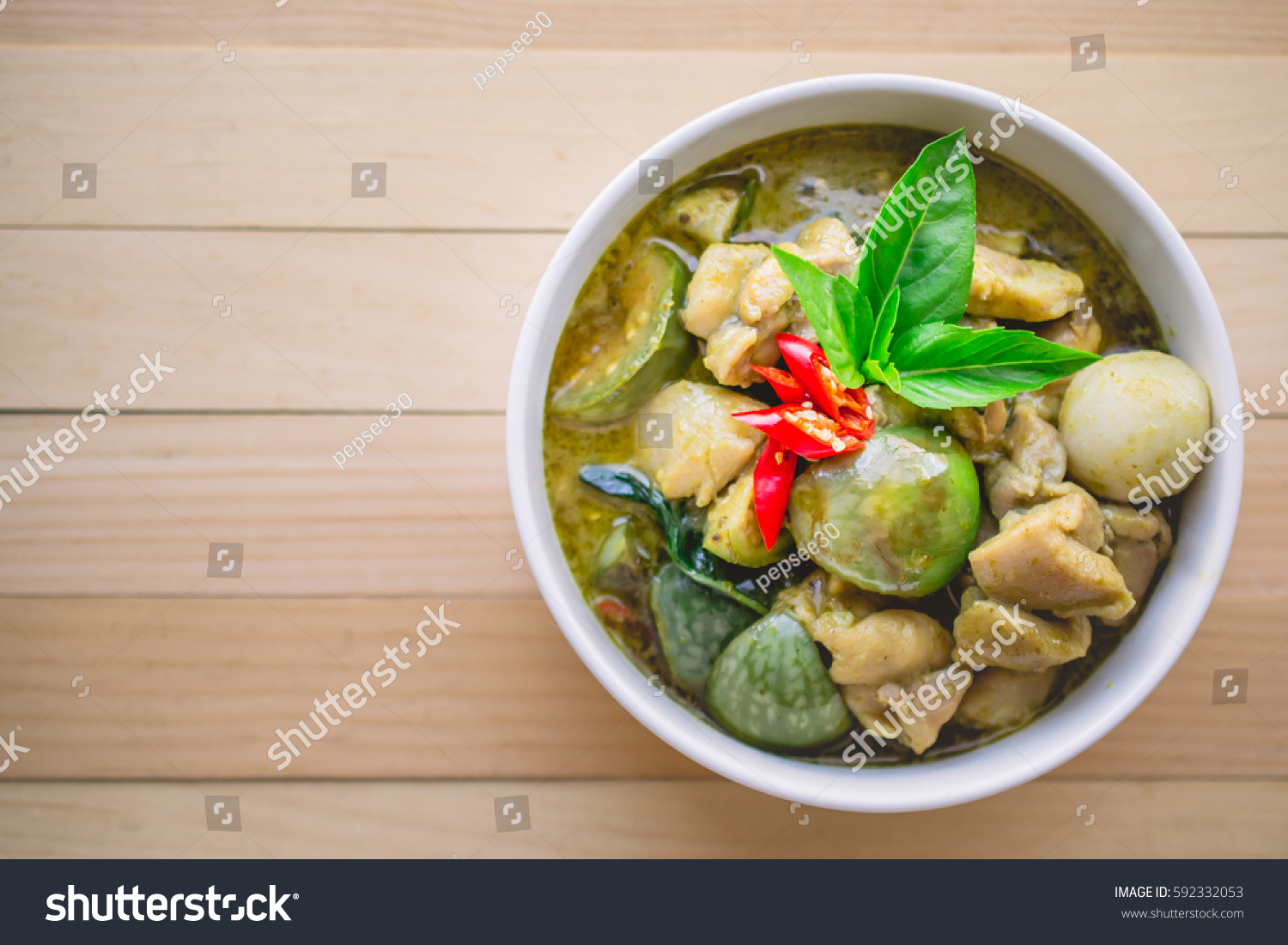 Thai chicken green curry famous thai stock photo 592332053 for Antique thai cuisine