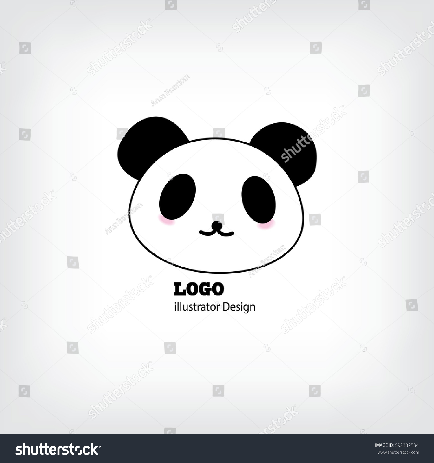 baby panda face logo template flat のベクター画像素材 ロイヤリティ
