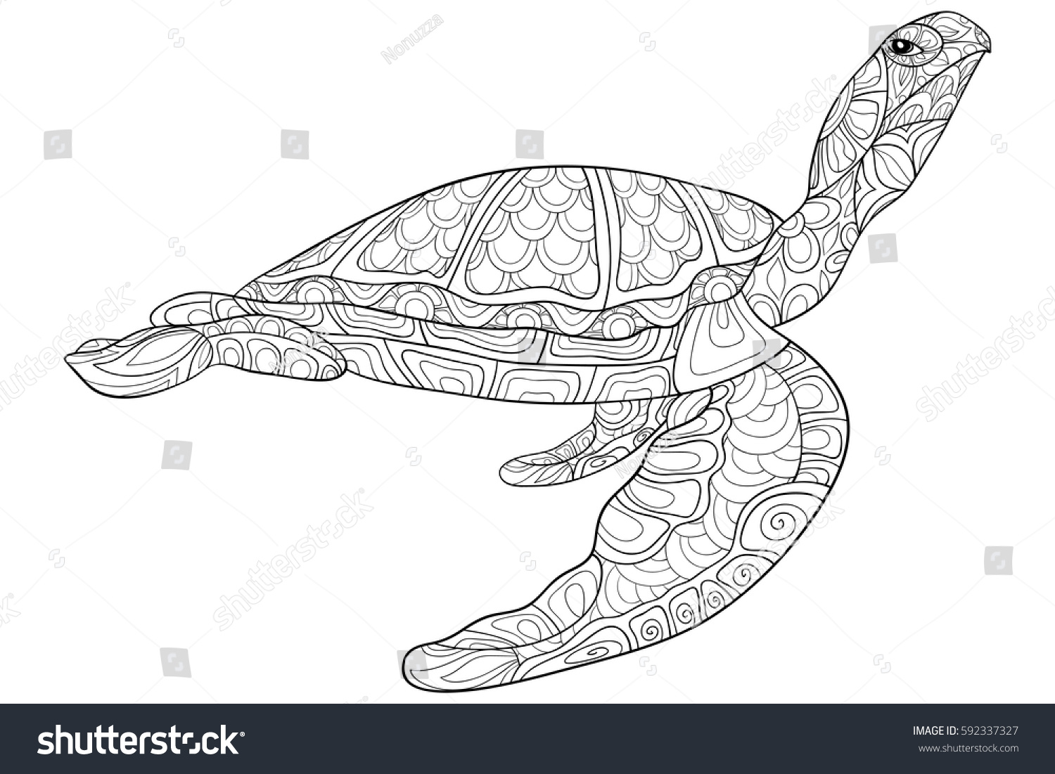 Zen ocean colouring book - Adult Coloring Book Turtle Zen Art Style Doodle Pages For Coloring