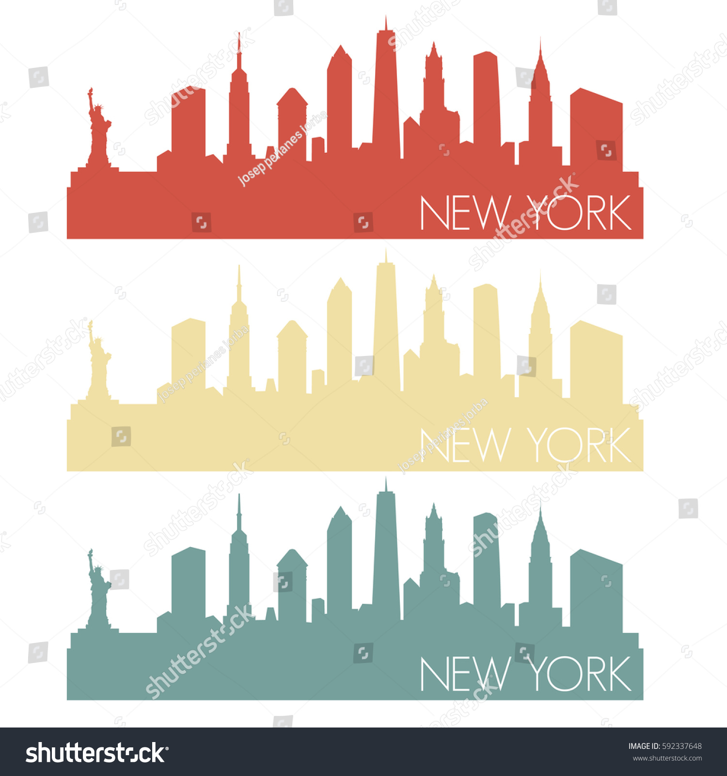 New York Skyline Silhouette Stamp City Stock Vector 592337648 ...