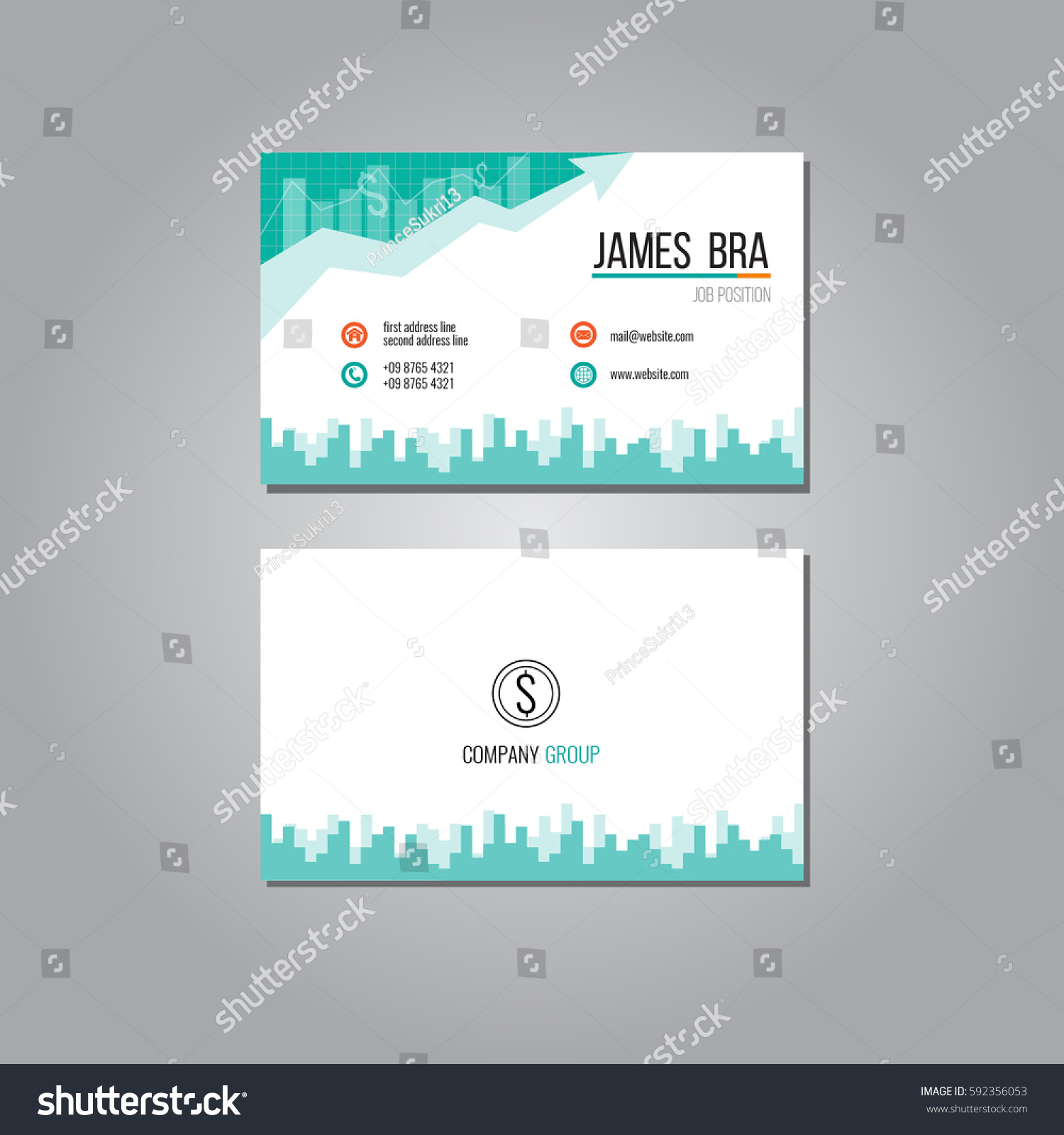 Finance Business Card Stock Vector 592356053 - Shutterstock