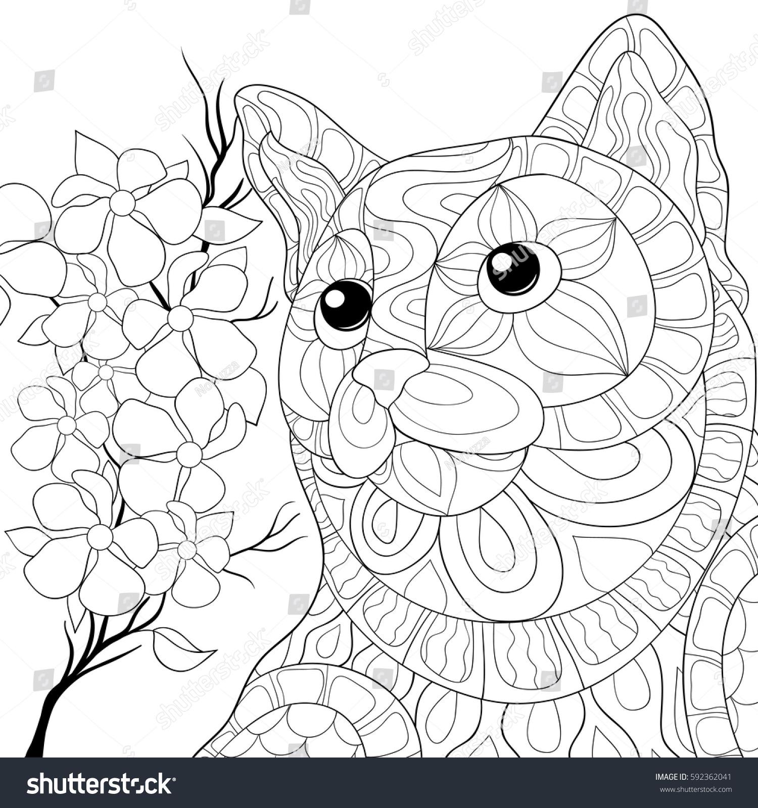 Adult Coloring Book CatZen Art Styledoodle