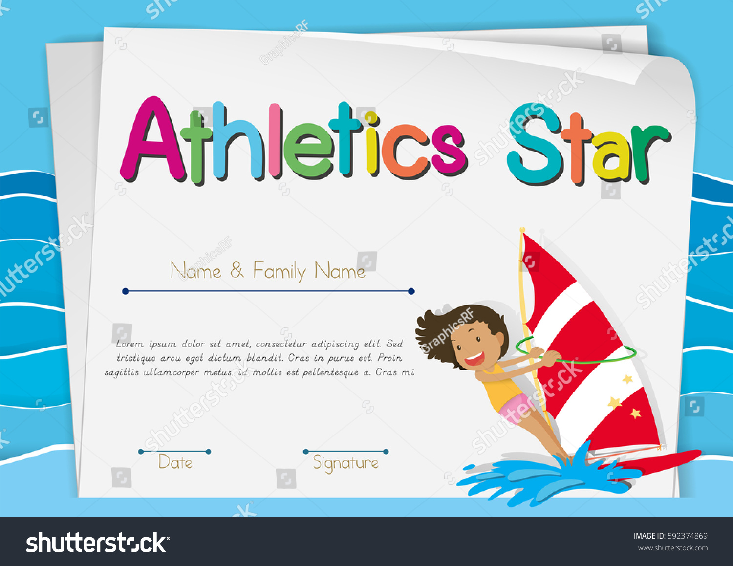 Certificate Template For Athletics Star Illustration