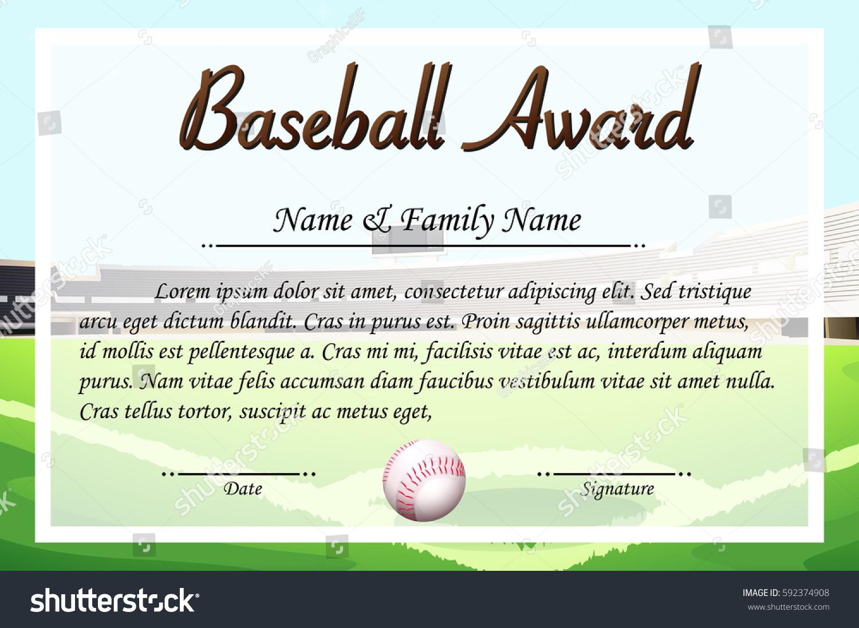 Certificate Template Baseball Award Illustration Stock Vector