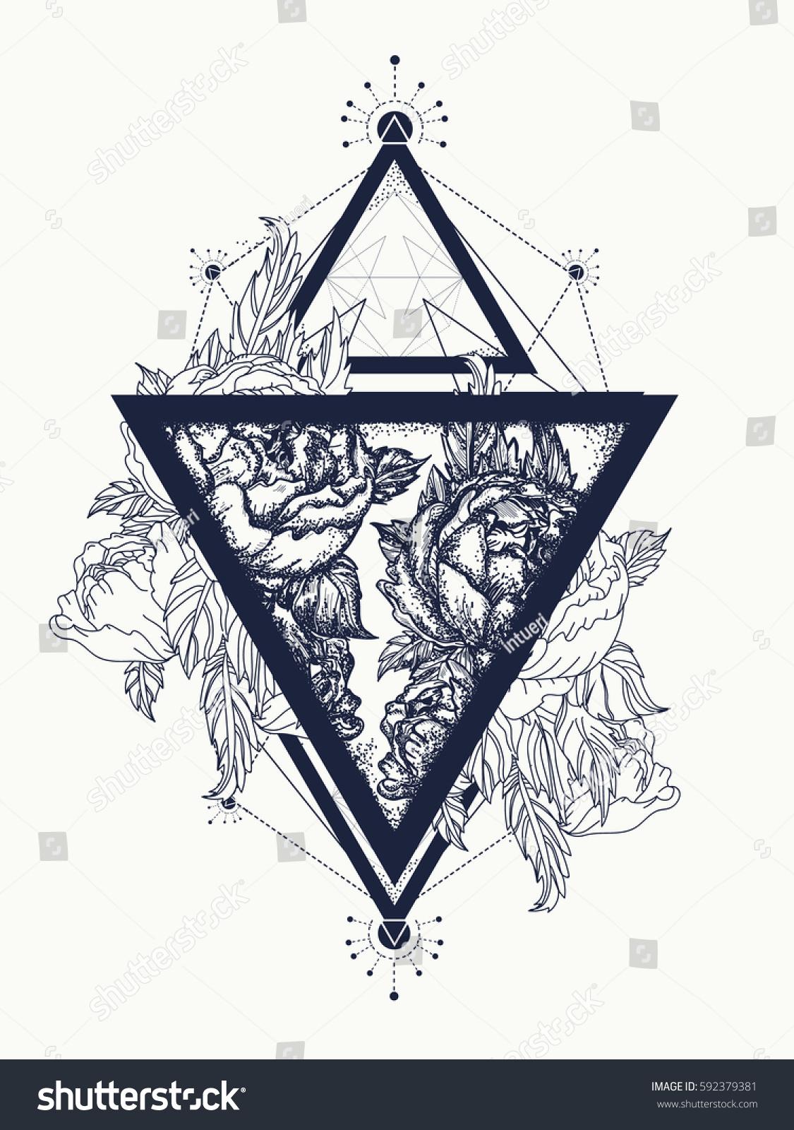Roses Triangle Tattoo Art Symbol Freedom Stock Vector Royalty Free