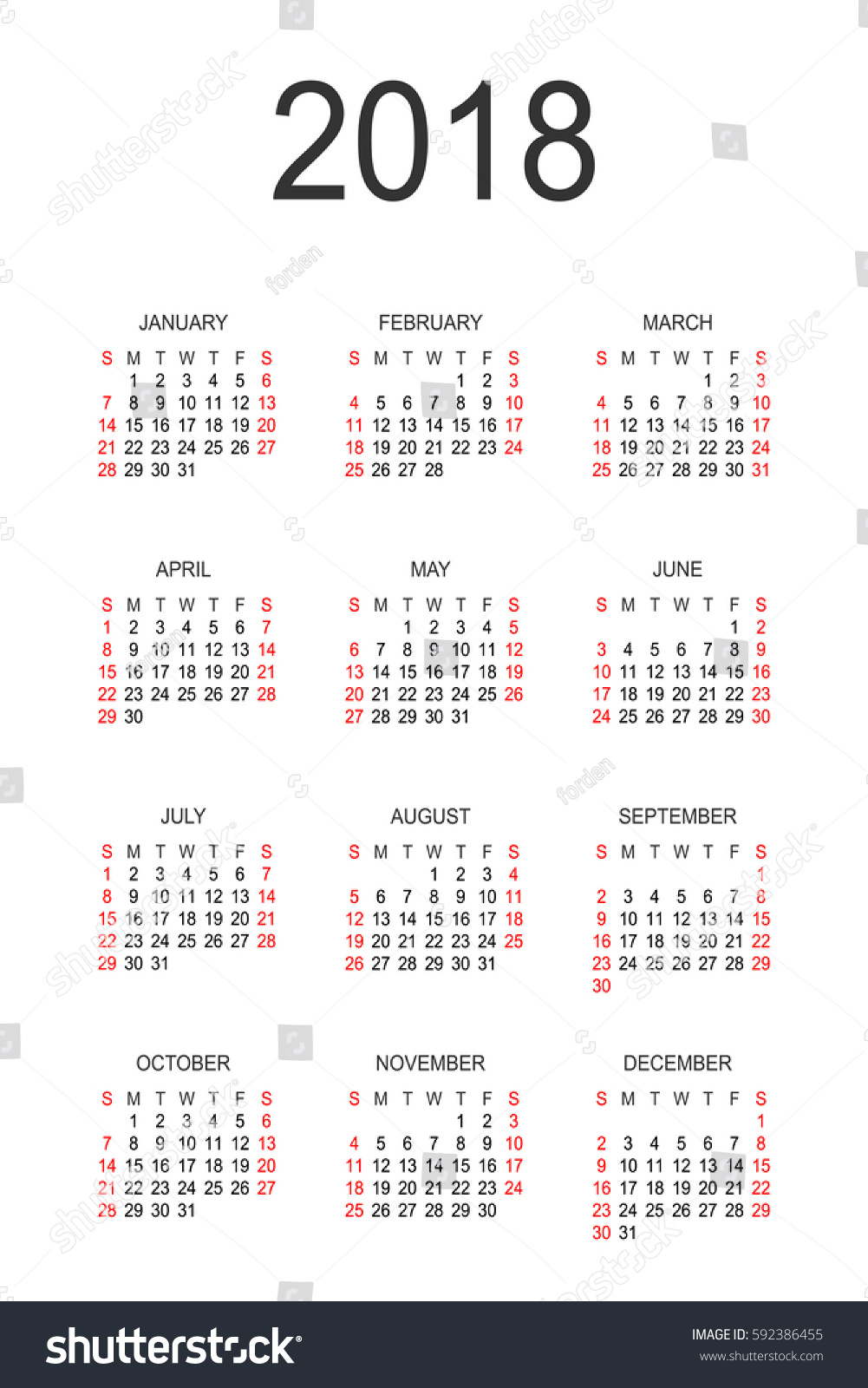 sunday through saturday calendar template - calendar 2018 year vector design template stock vector