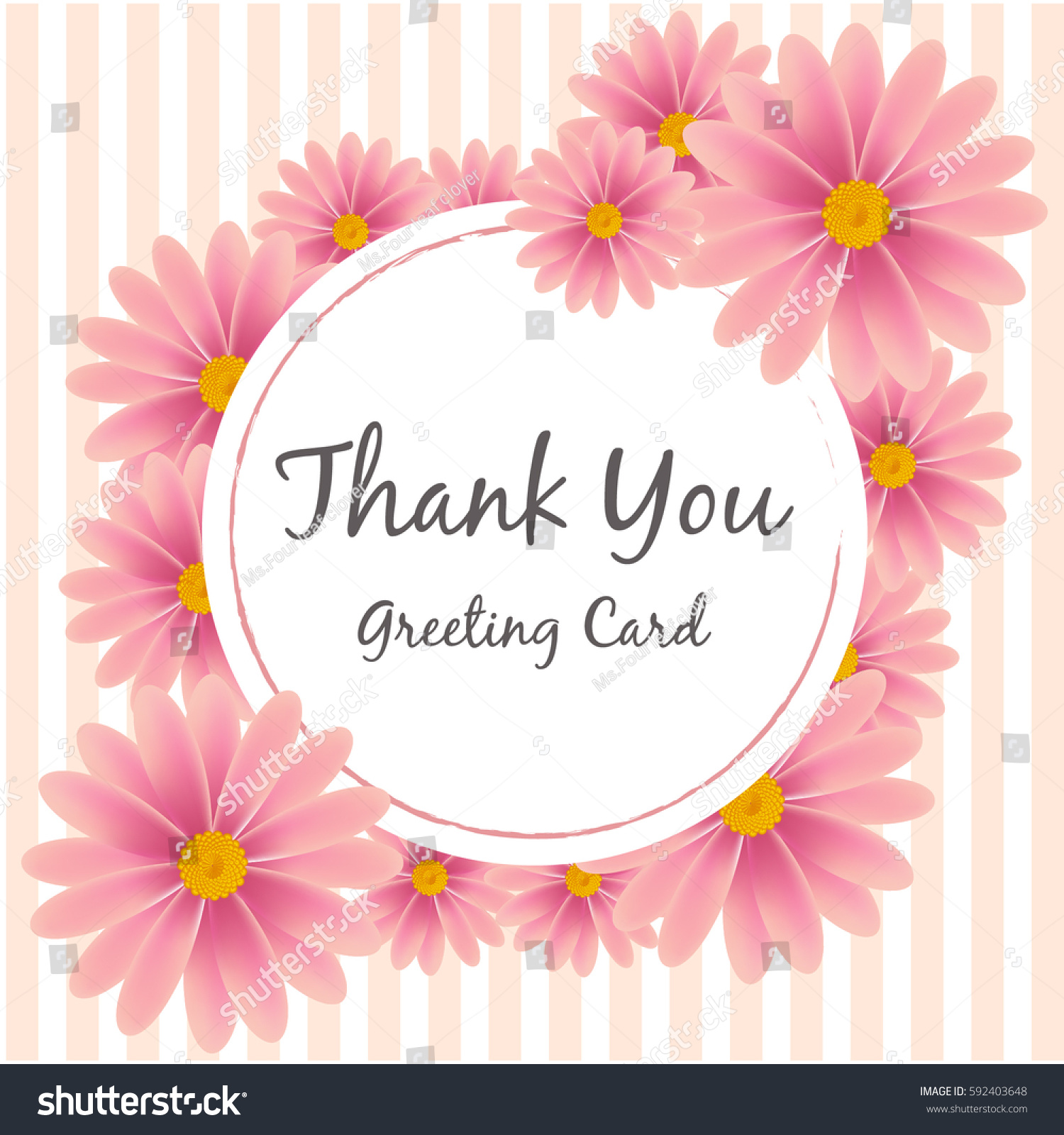 Pink Flower Thank You Greeting Card Stock Vector Royalty Free
