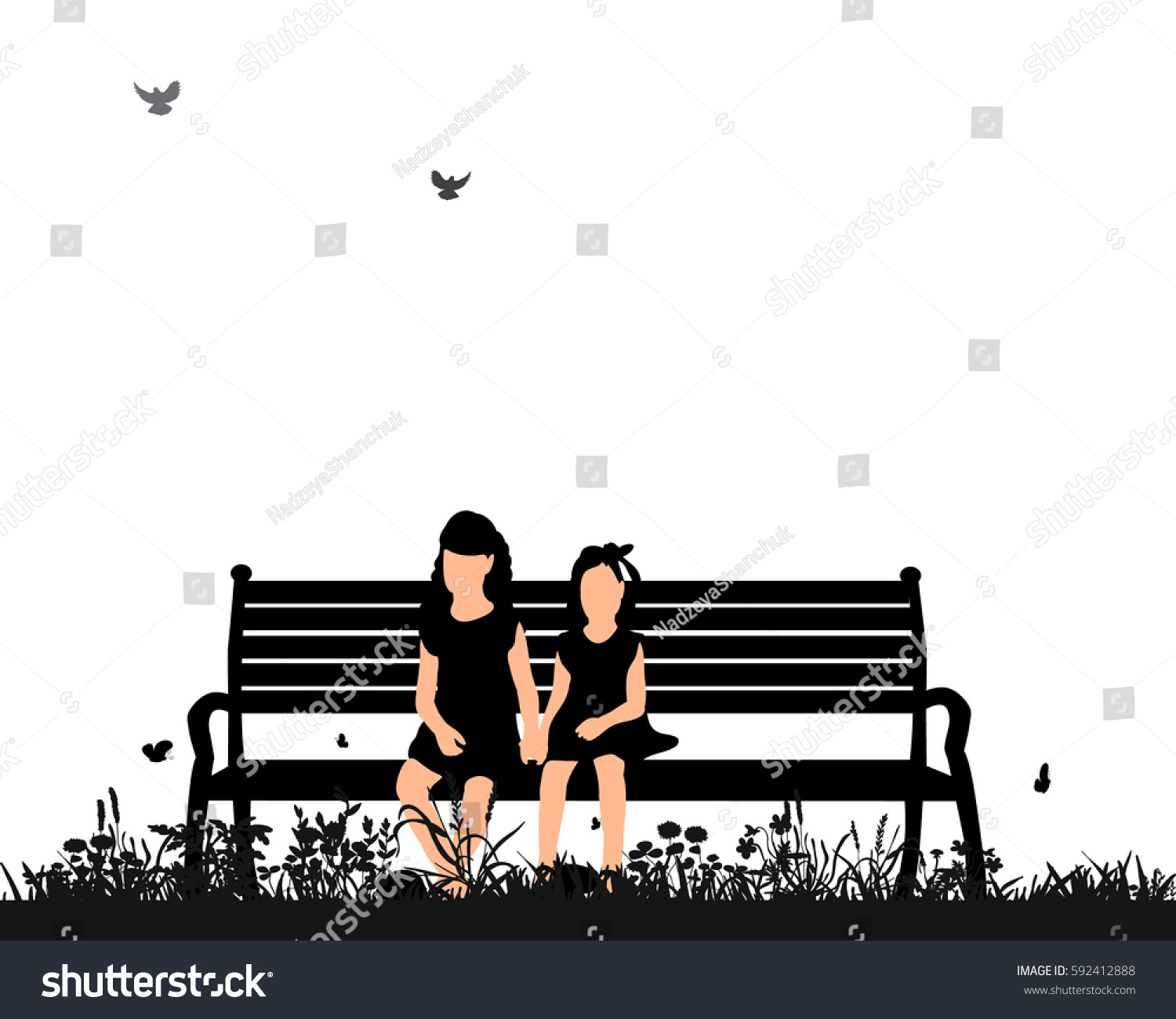 Vector Isolated Silhouette Children Sitting On Stock Vector ... for Bench Silhouette Side  303mzq