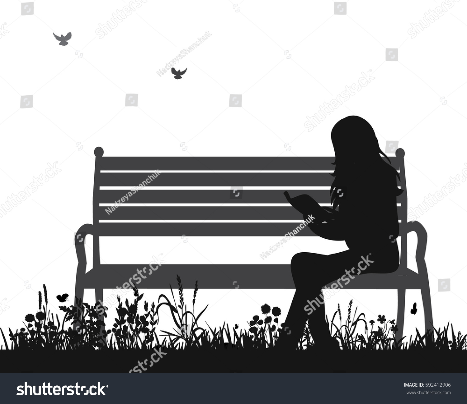 Vector Isolated Silhouette Girl Reading Book Stock Vector 592412906 ... for Bench Silhouette Side  117dqh